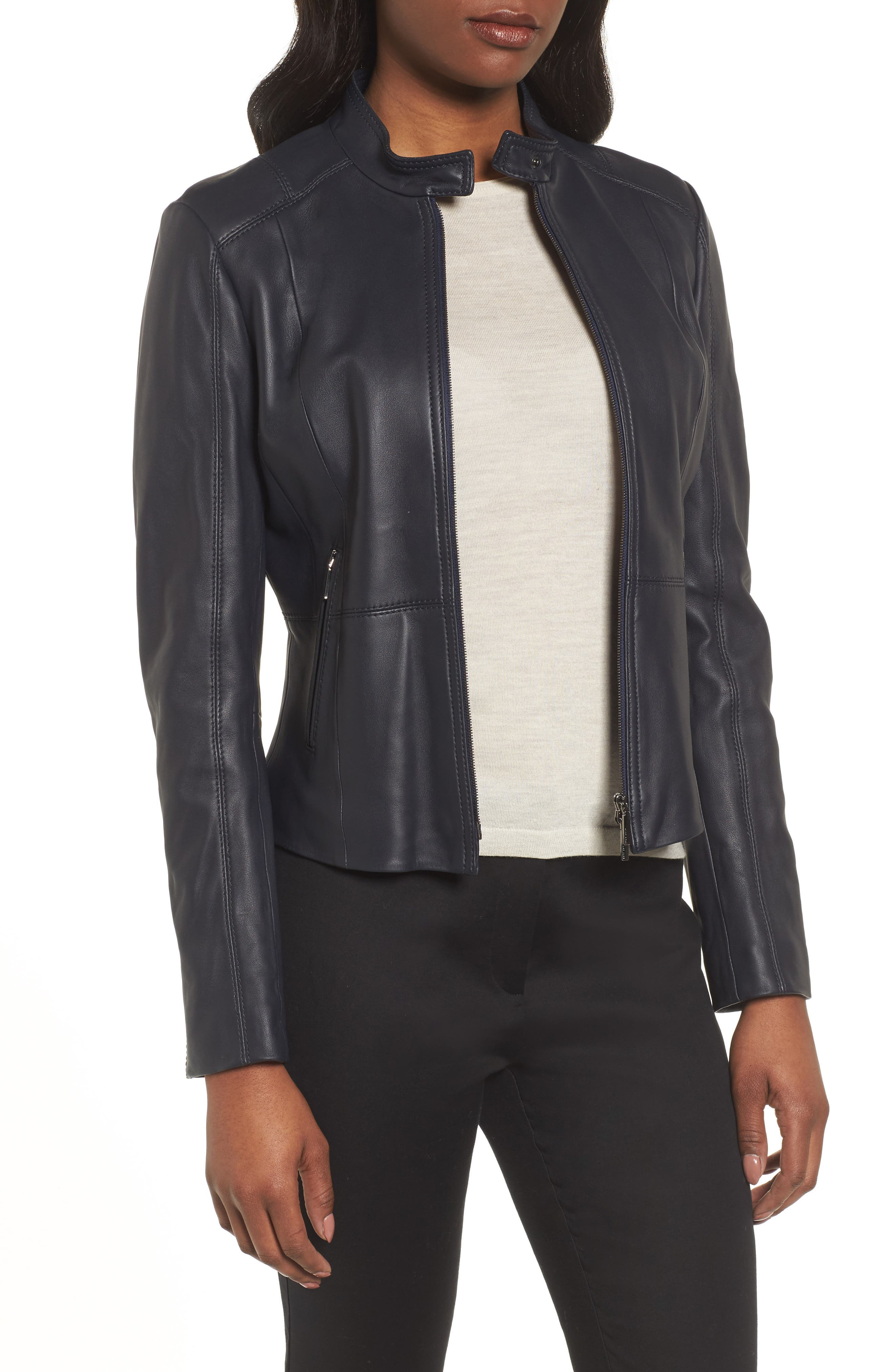 Alternate Image 1 Selected - BOSS Sammonaie Leather Jacket