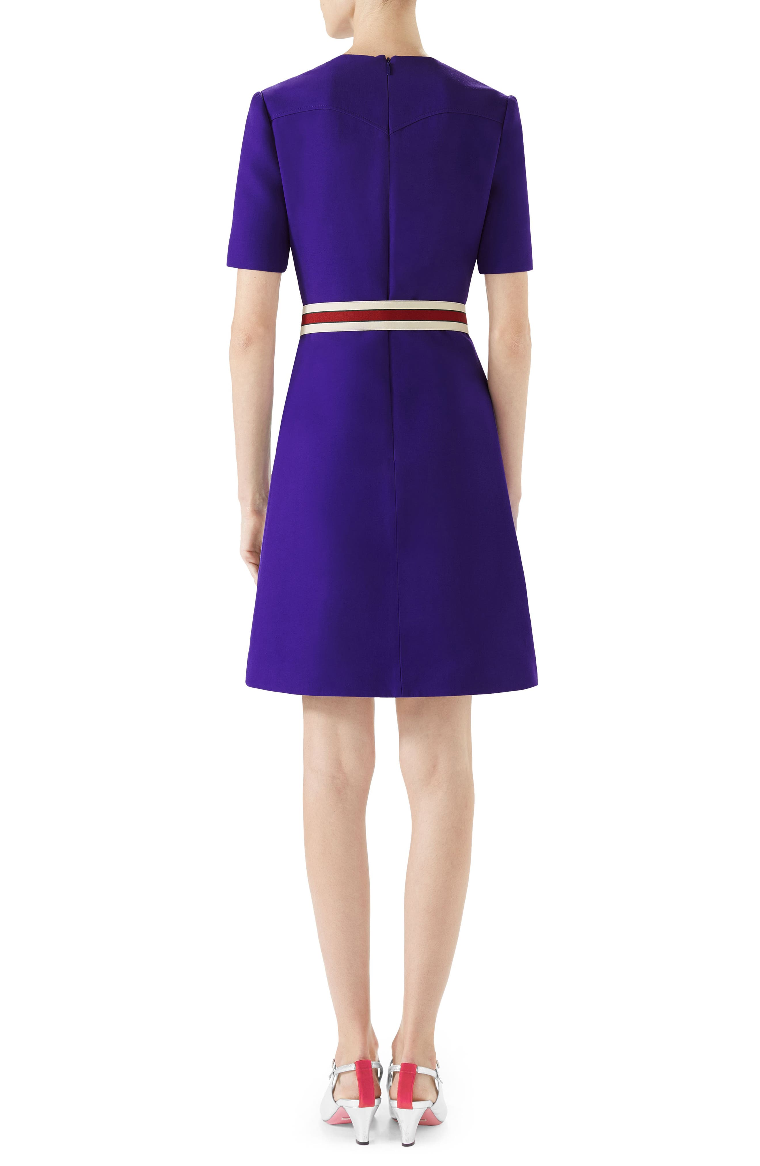 Belted Pintuck Cady Crepe Dress,                             Alternate thumbnail 2, color,                             Bright Purple