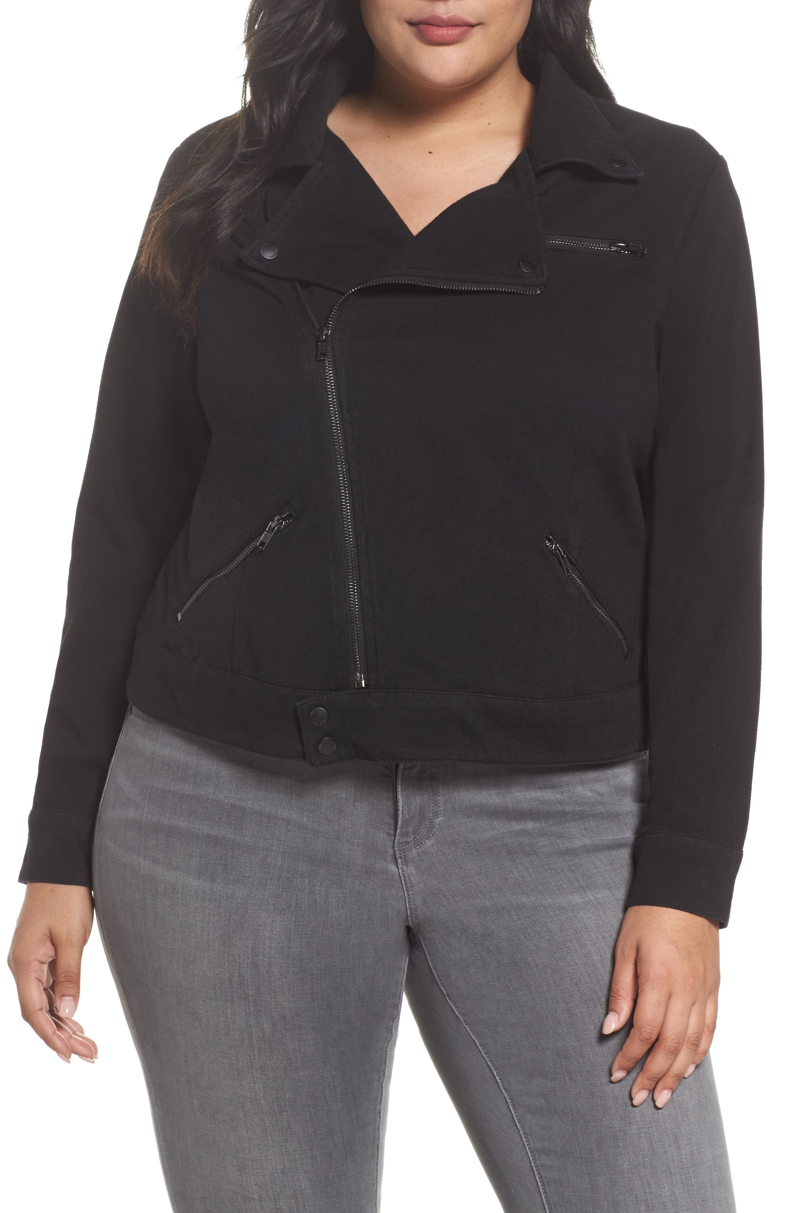 Alternate Image 4  - Liverpool Jeans Company Zip Knit Moto Jacket (Plus Size)