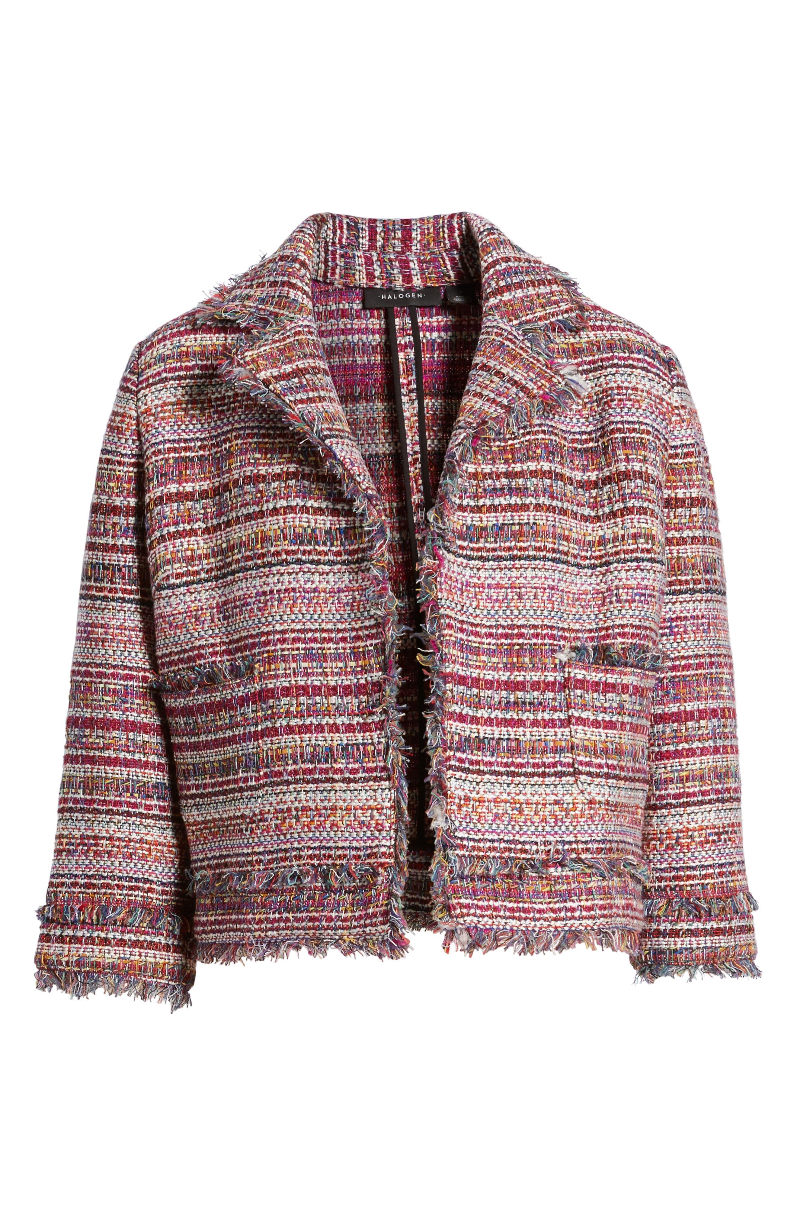 Tweed Open Front Jacket,                             Alternate thumbnail 6, color,                             Red Multi Tweed