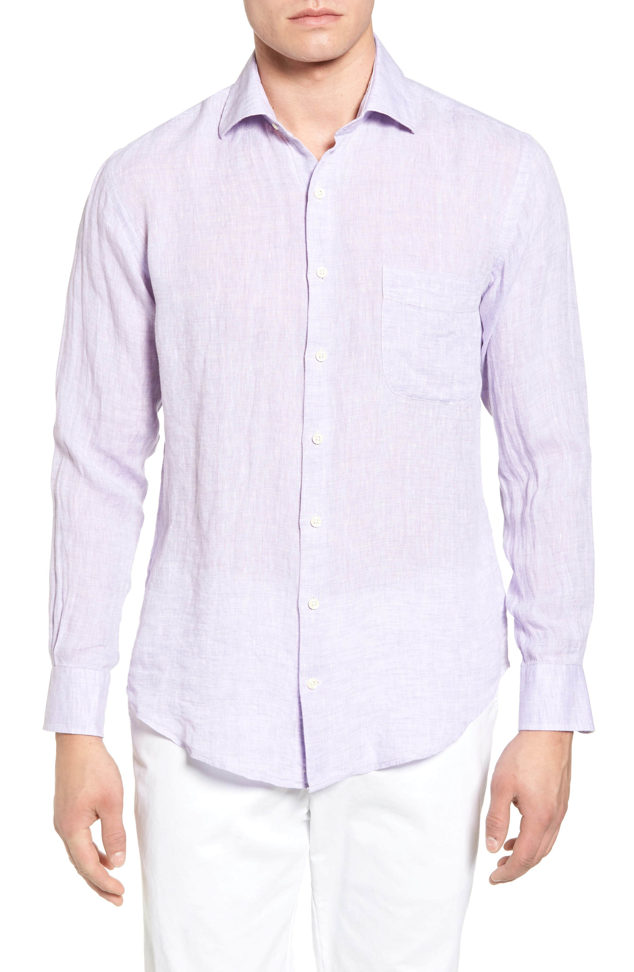 Classic Fit Crown Cool Linen Sport Shirt,                         Main,                         color, Muscadine