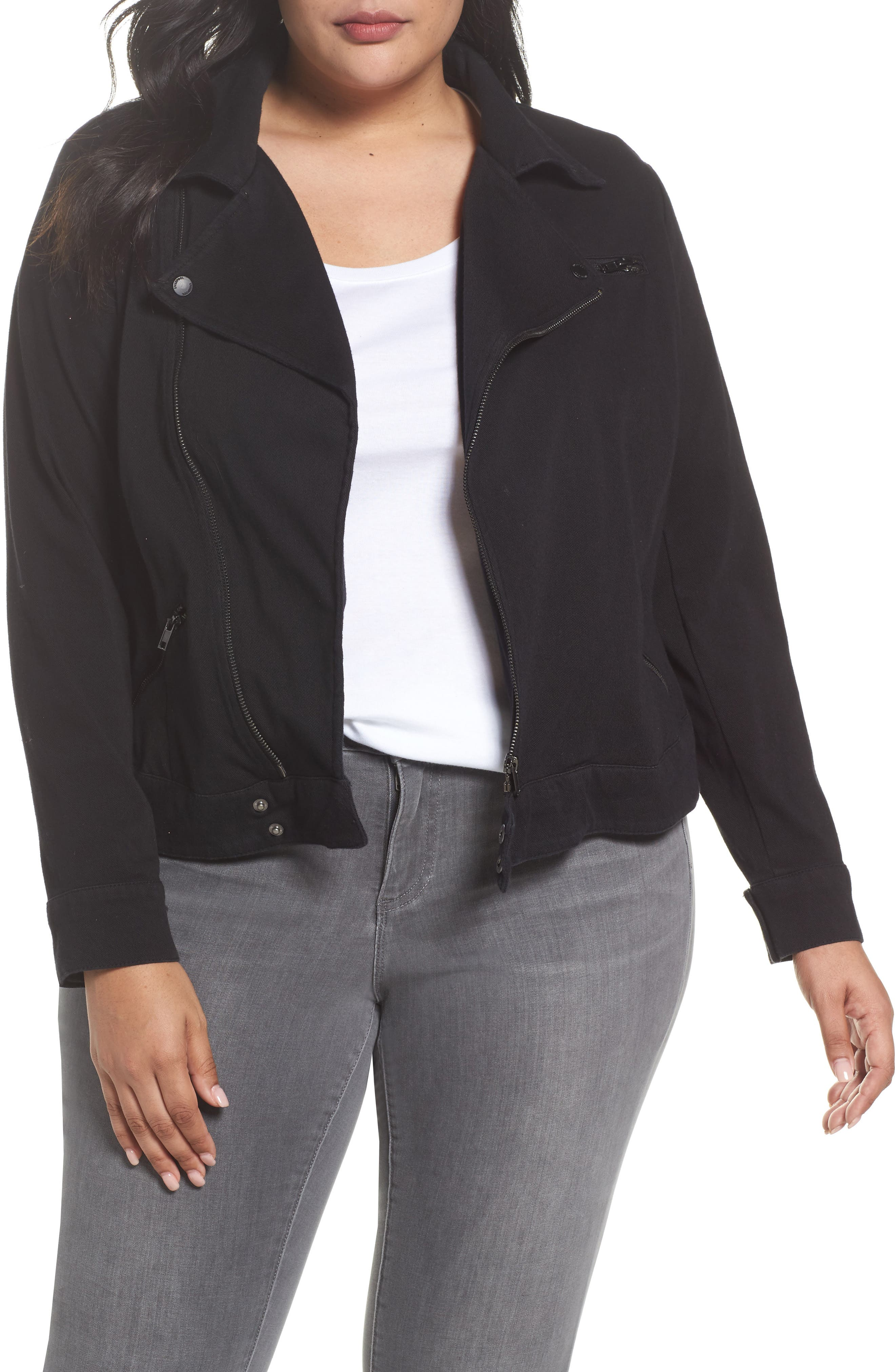 Alternate Image 1 Selected - Liverpool Jeans Company Zip Knit Moto Jacket (Plus Size)