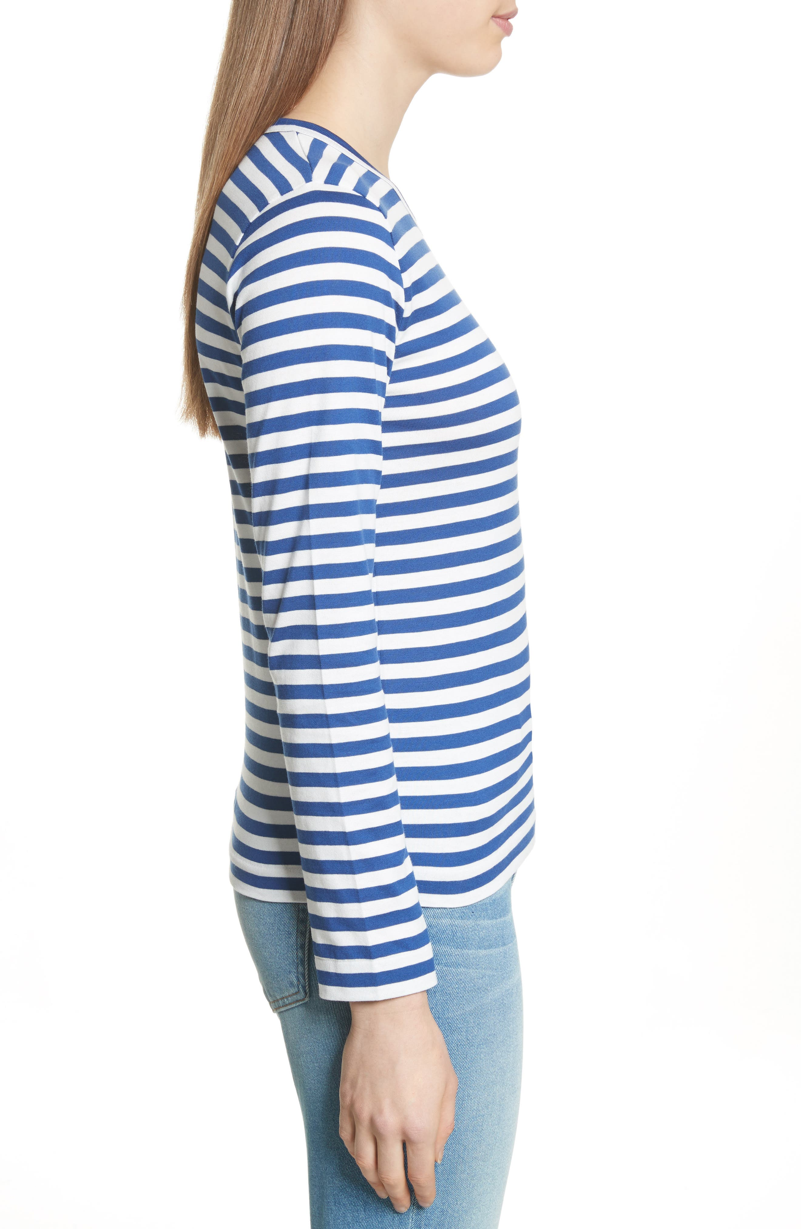 Comme des Garçons PLAY Stripe Cotton Tee,                             Alternate thumbnail 3, color,                             Navy/ White