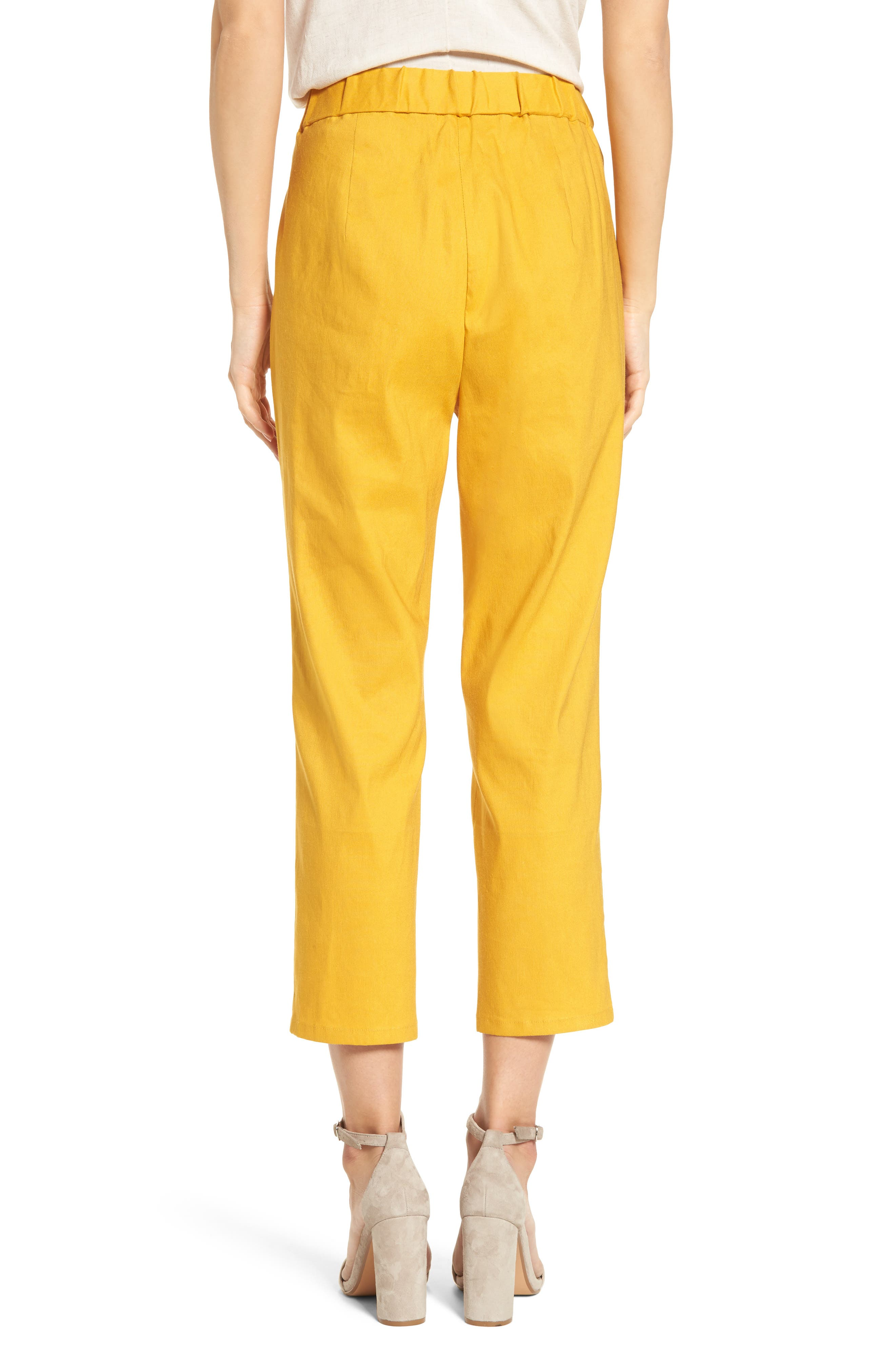 Pleat Front Crop Pants,                             Alternate thumbnail 2, color,                             Yellow Mineral