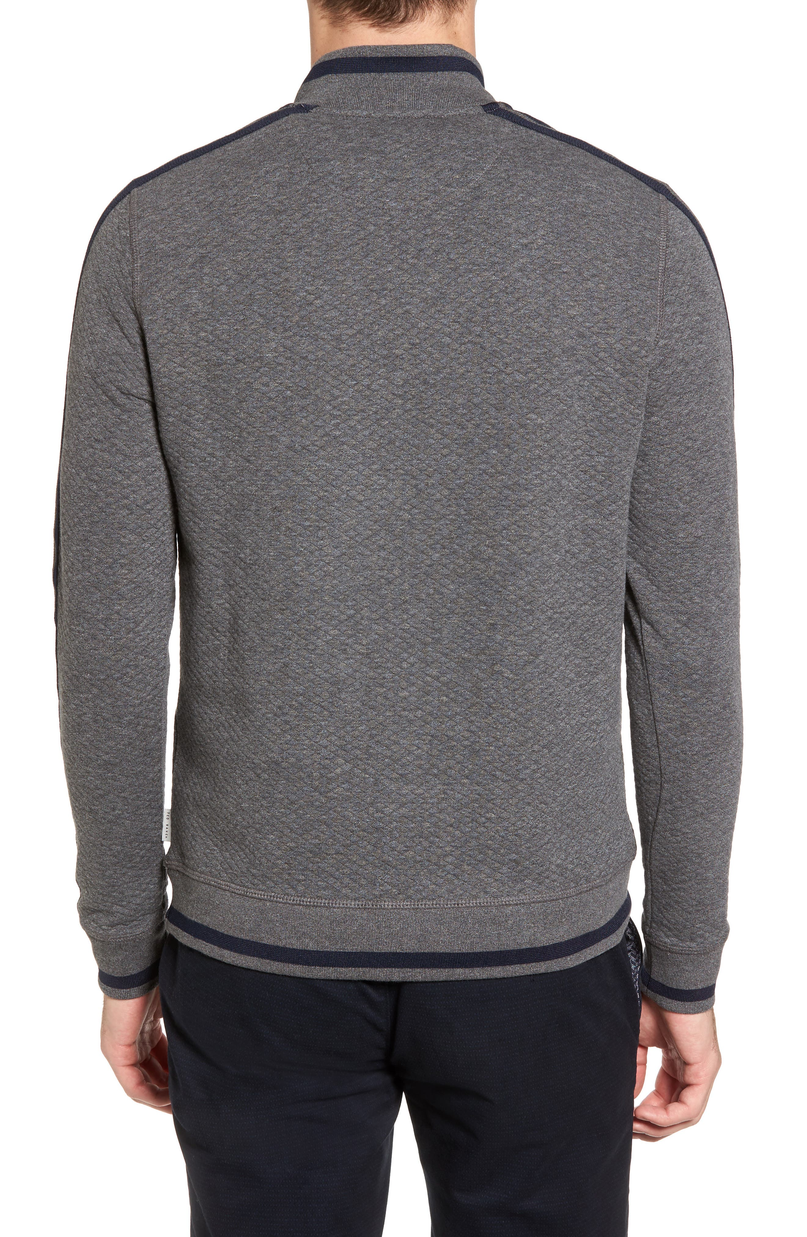 Sidney Quilted Quarter Zip Sweatshirt,                             Alternate thumbnail 2, color,                             Charcaol