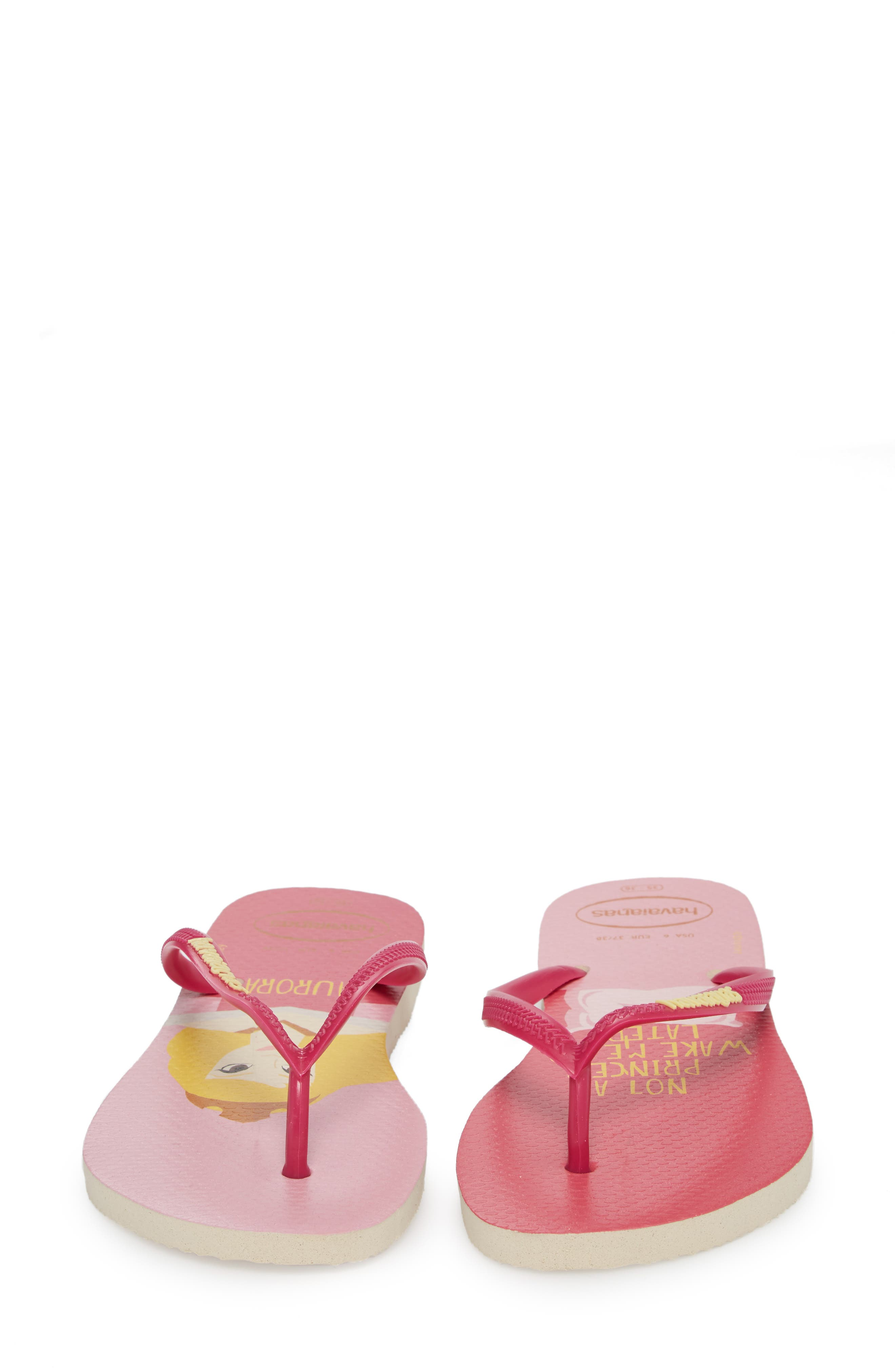 Havaiana Slim - Disney Princess Flip Flop,                             Alternate thumbnail 4, color,                             Beige/ Pink