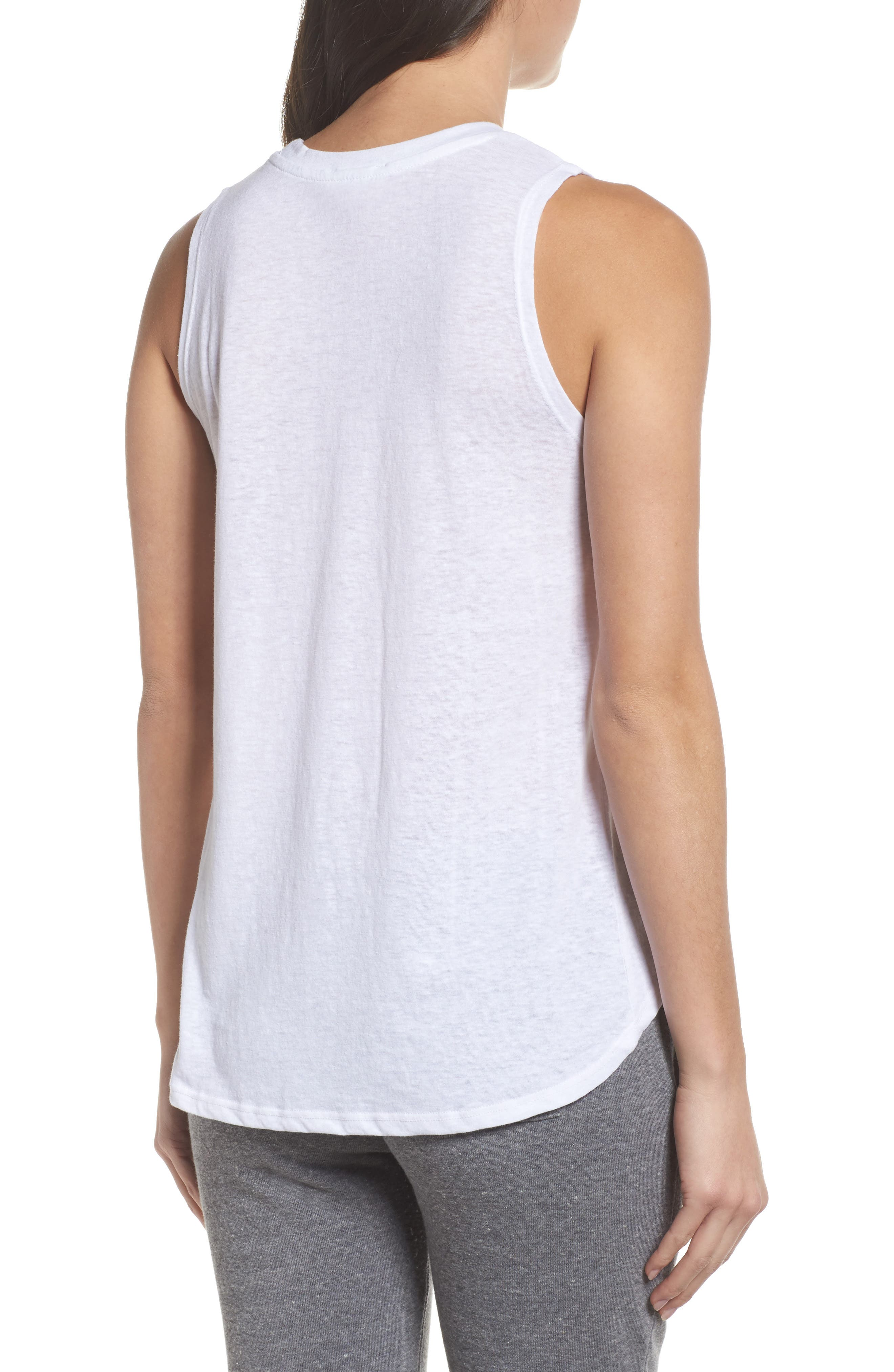 David Bowie High/Low Muscle Tank,                             Alternate thumbnail 2, color,                             White