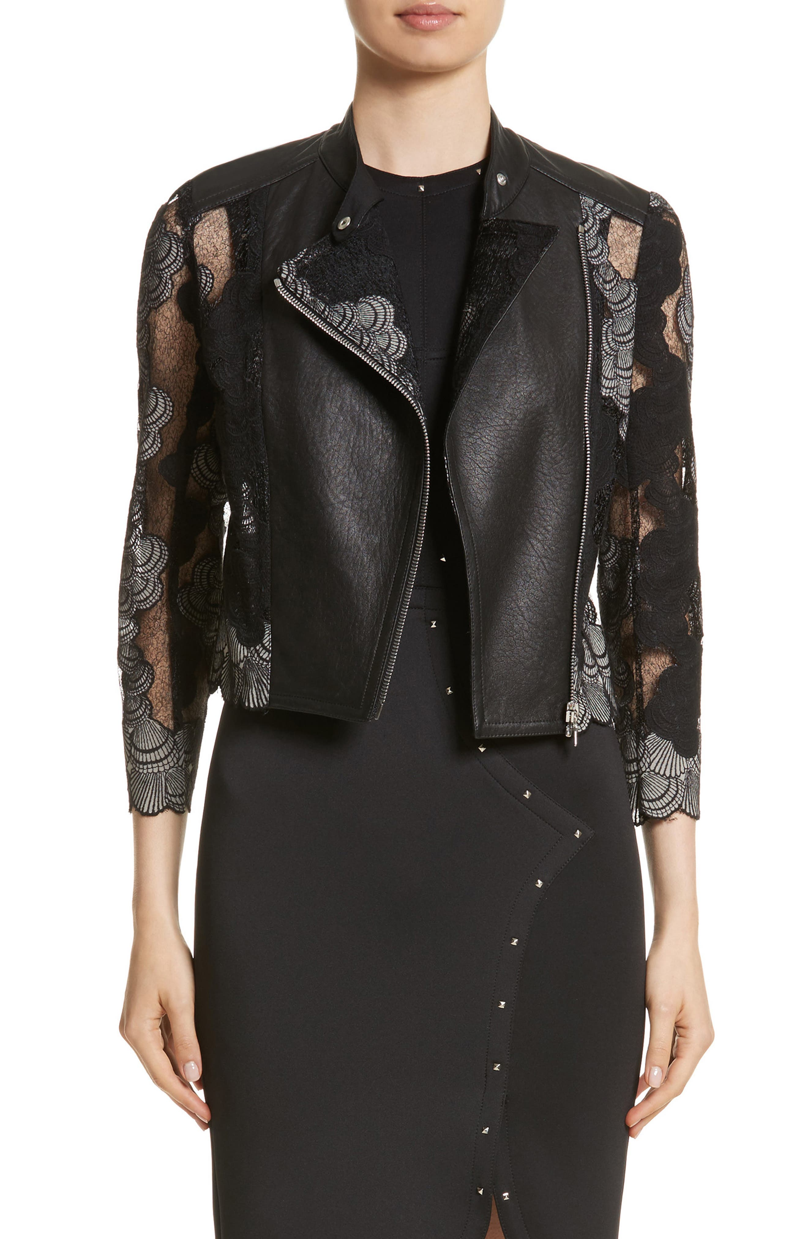 Yigal Azrouël Seashell Lace Moto Jacket