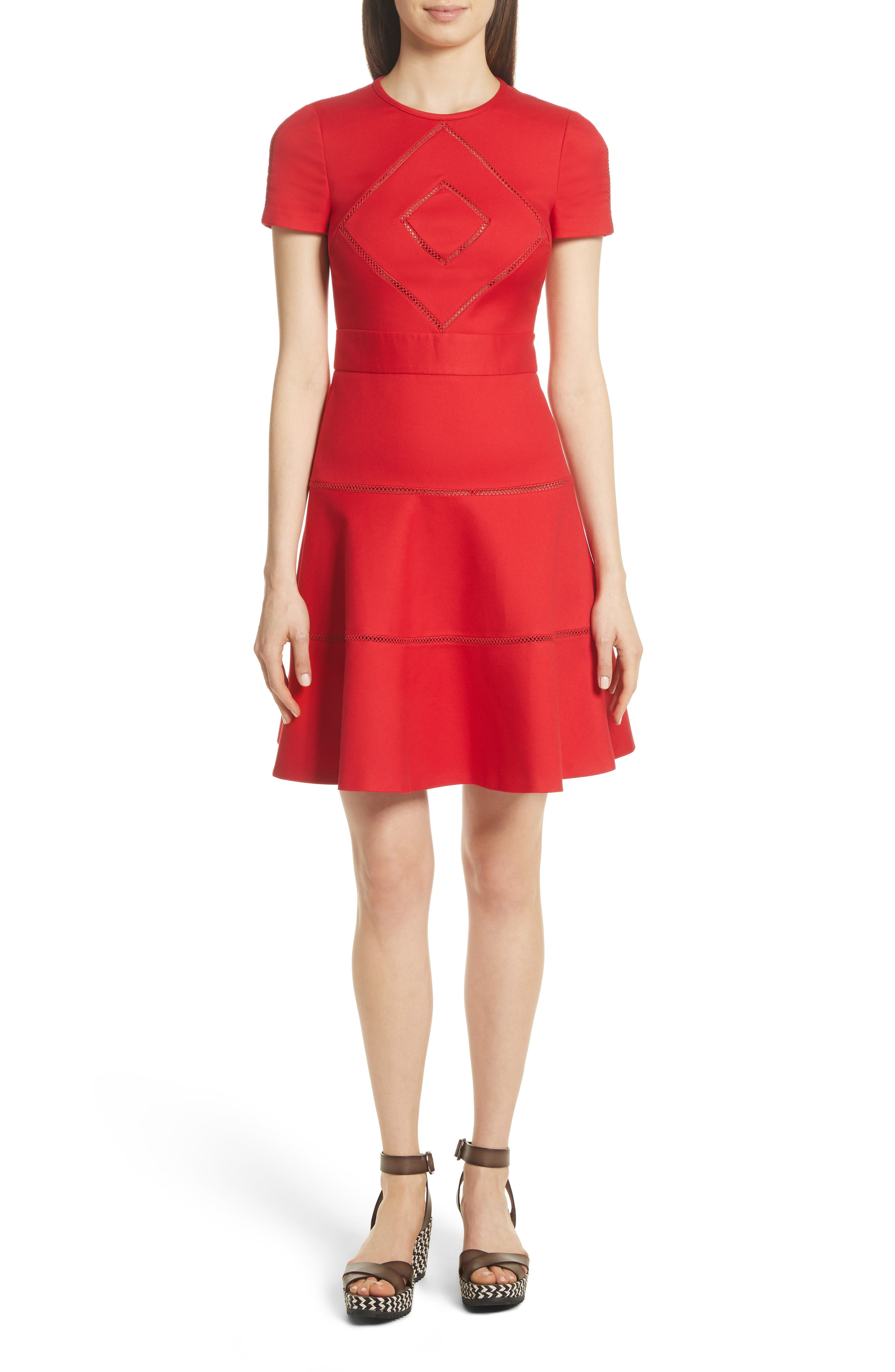Open Stripe Fit & Flare Dress,                             Main thumbnail 1, color,                             Red