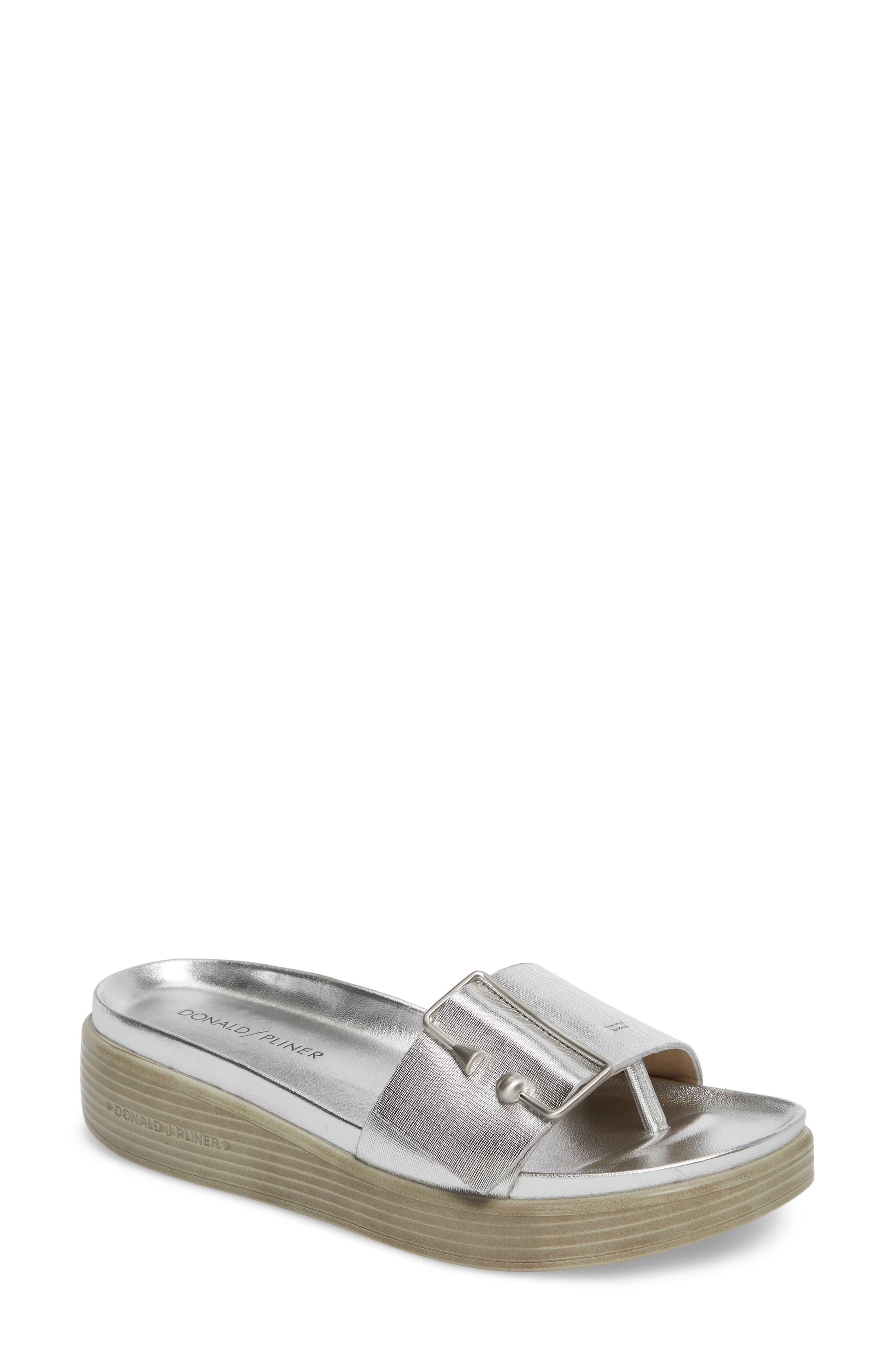 Fara Platform Slide Sandal,                         Main,                         color, Silver