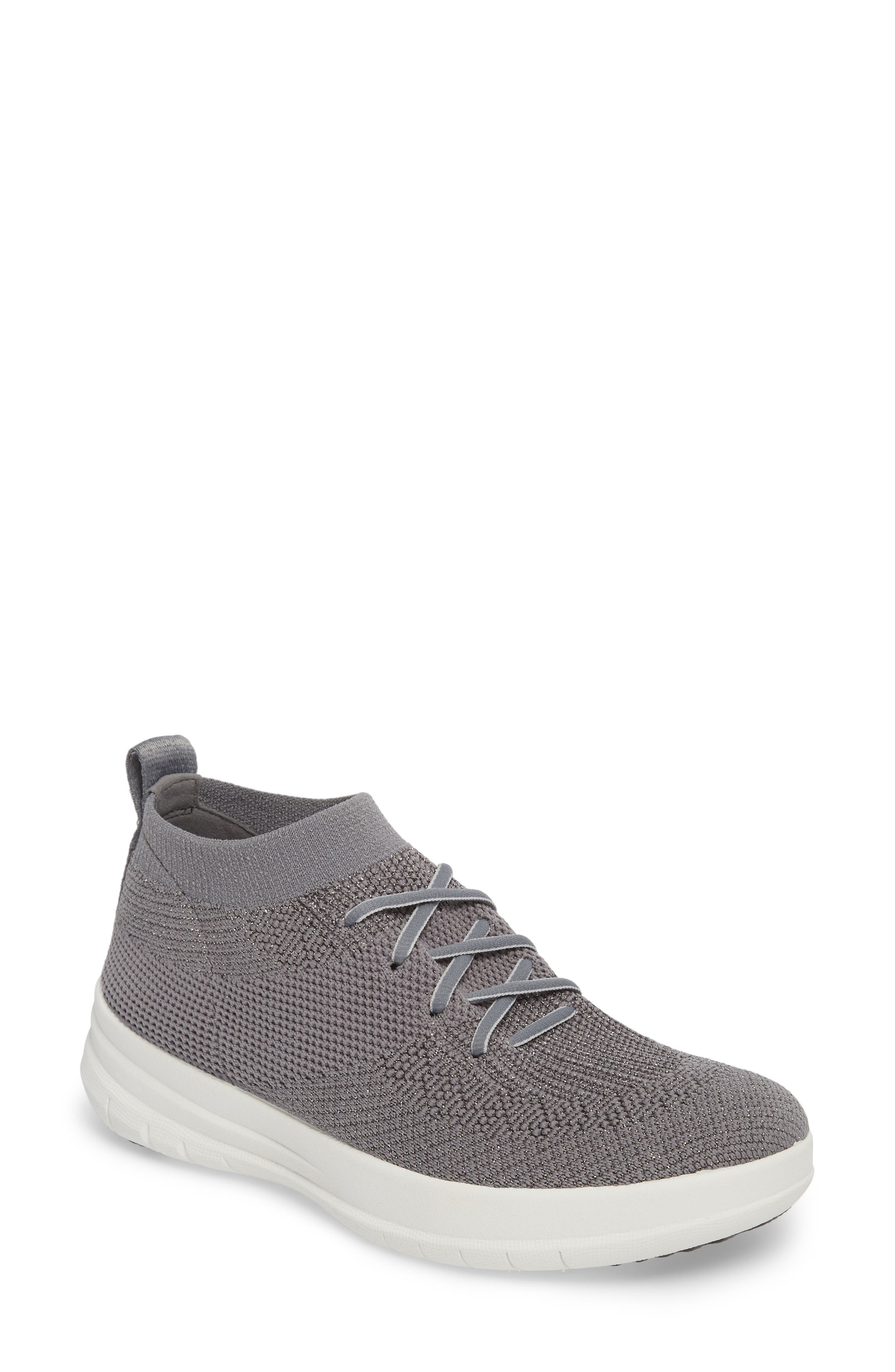 Uberknit<sup>™</sup> Slip-On High-Top Sneaker,                             Main thumbnail 1, color,                             Charcoal/ Metallic Pewter