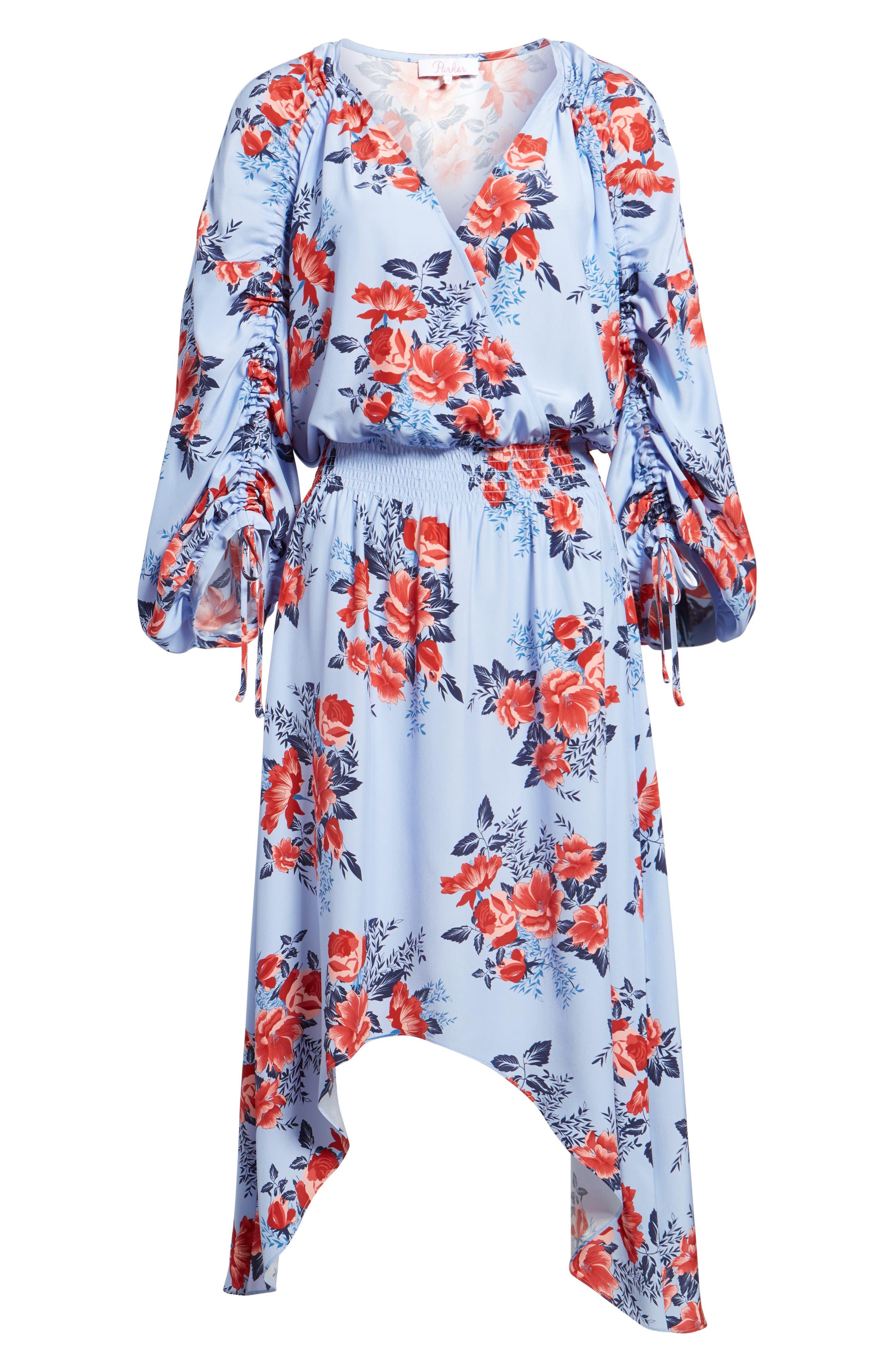 Xiomara Silk Dress,                             Alternate thumbnail 6, color,                             Lilac Blossom