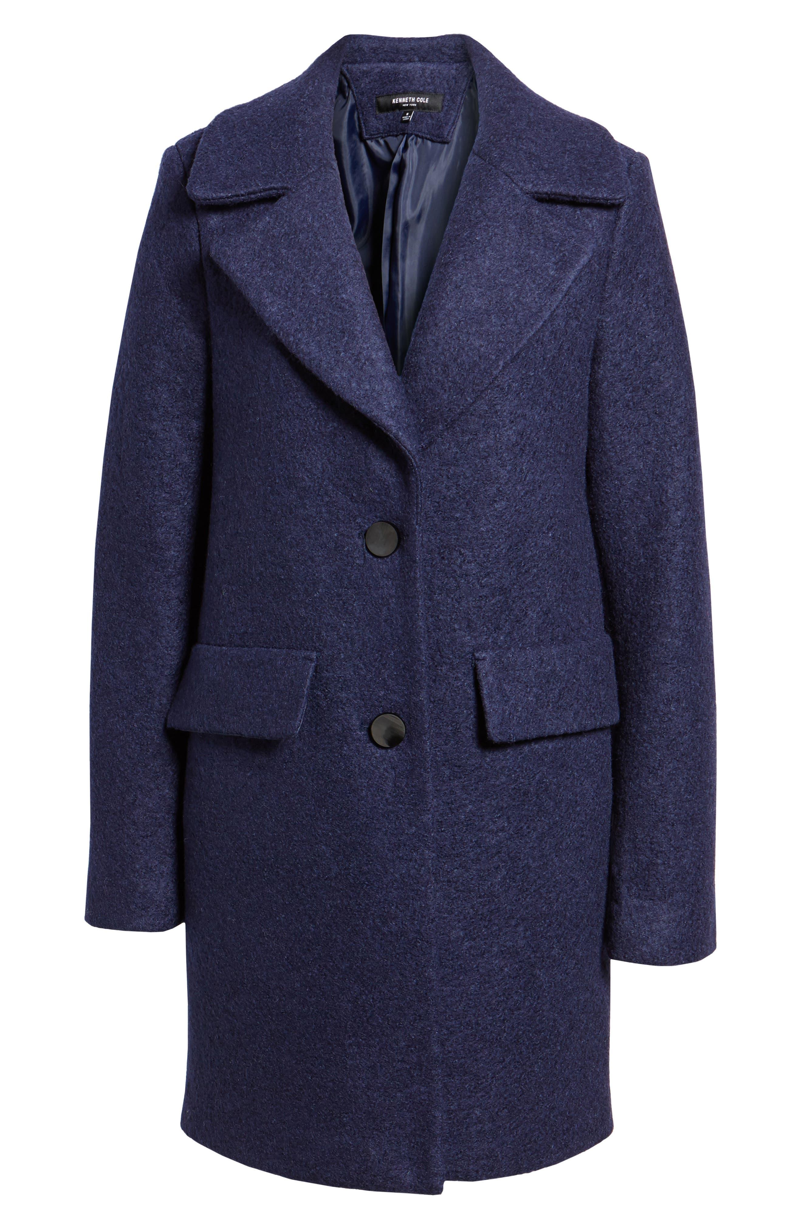 Wool Blend Bouclé Coat,                         Main,                         color, Grape
