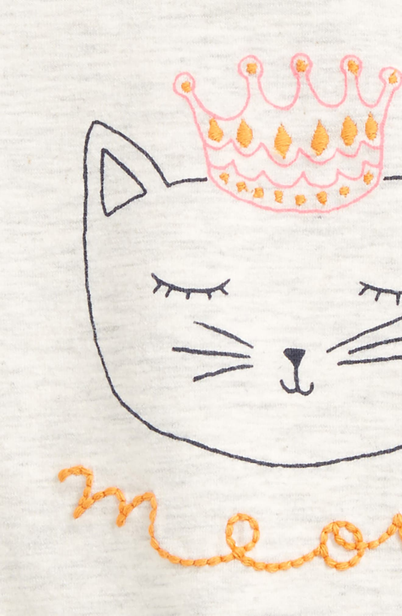 Embroidered Graphic Tee,                             Alternate thumbnail 2, color,                             Ivory Egret Heather Crown Cat