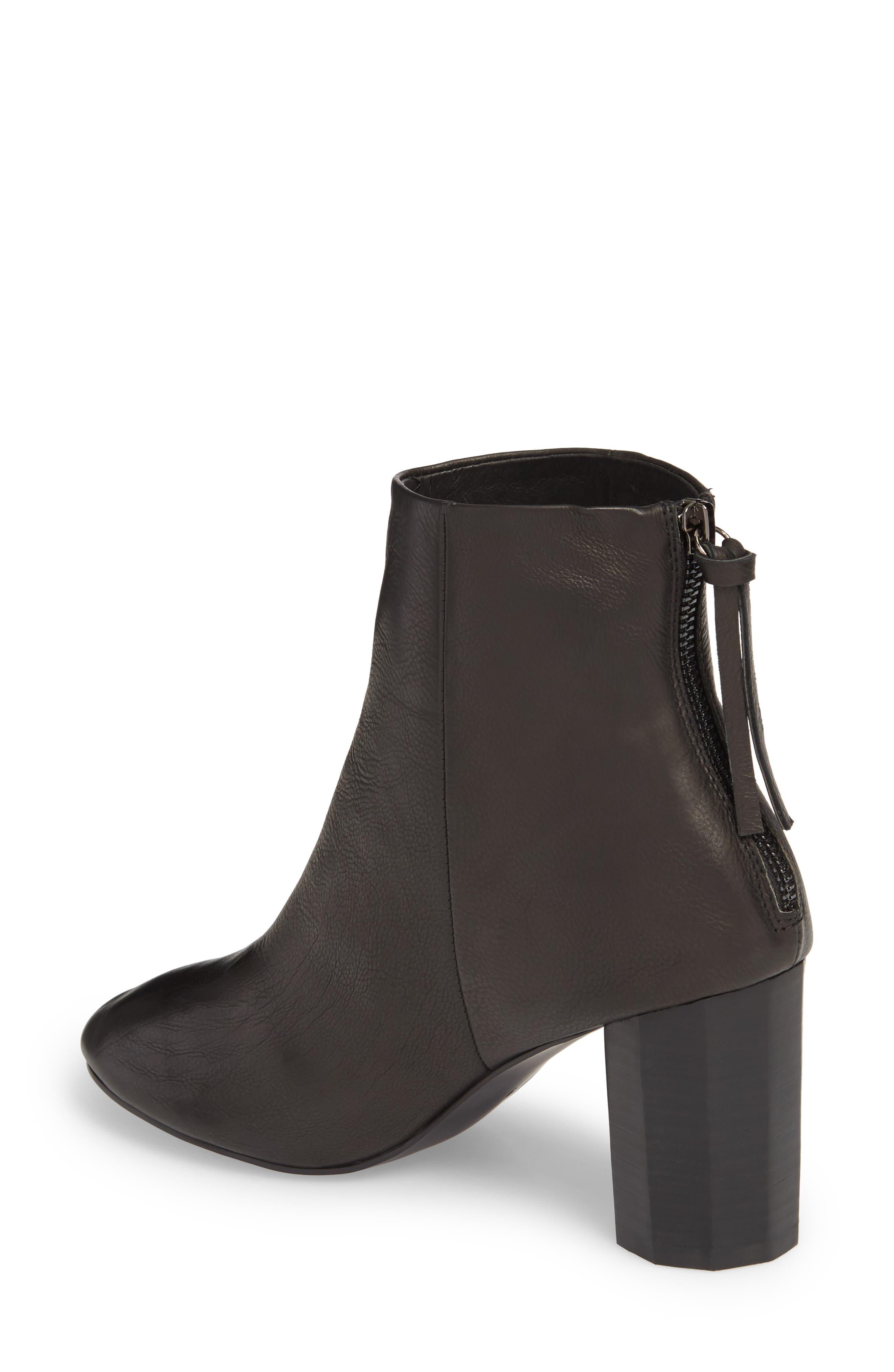 Sadie Column Heel Bootie,                             Alternate thumbnail 2, color,                             Black Leather