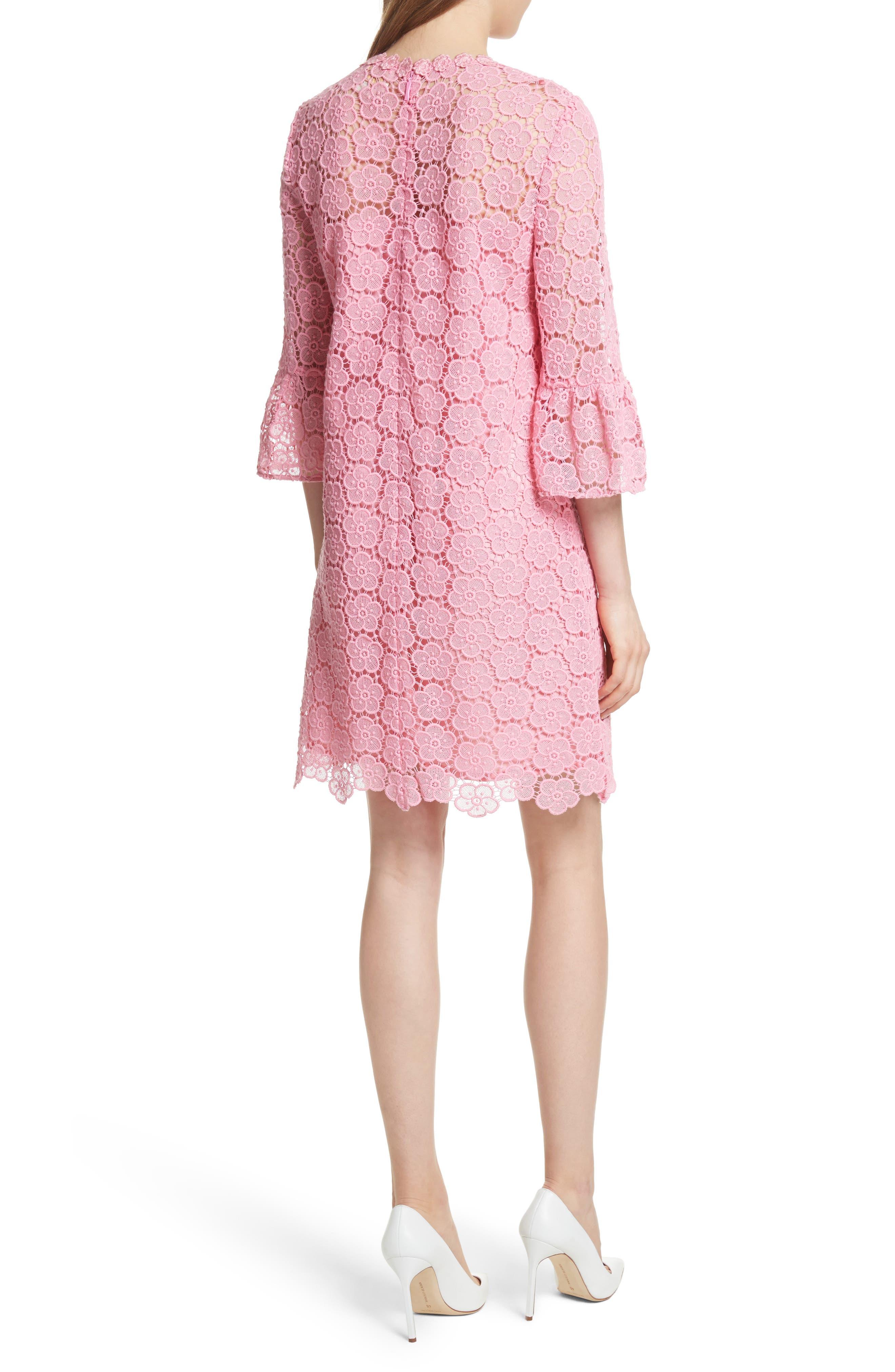 bloom flower lace shift dress,                             Alternate thumbnail 2, color,                             Parisian Pink