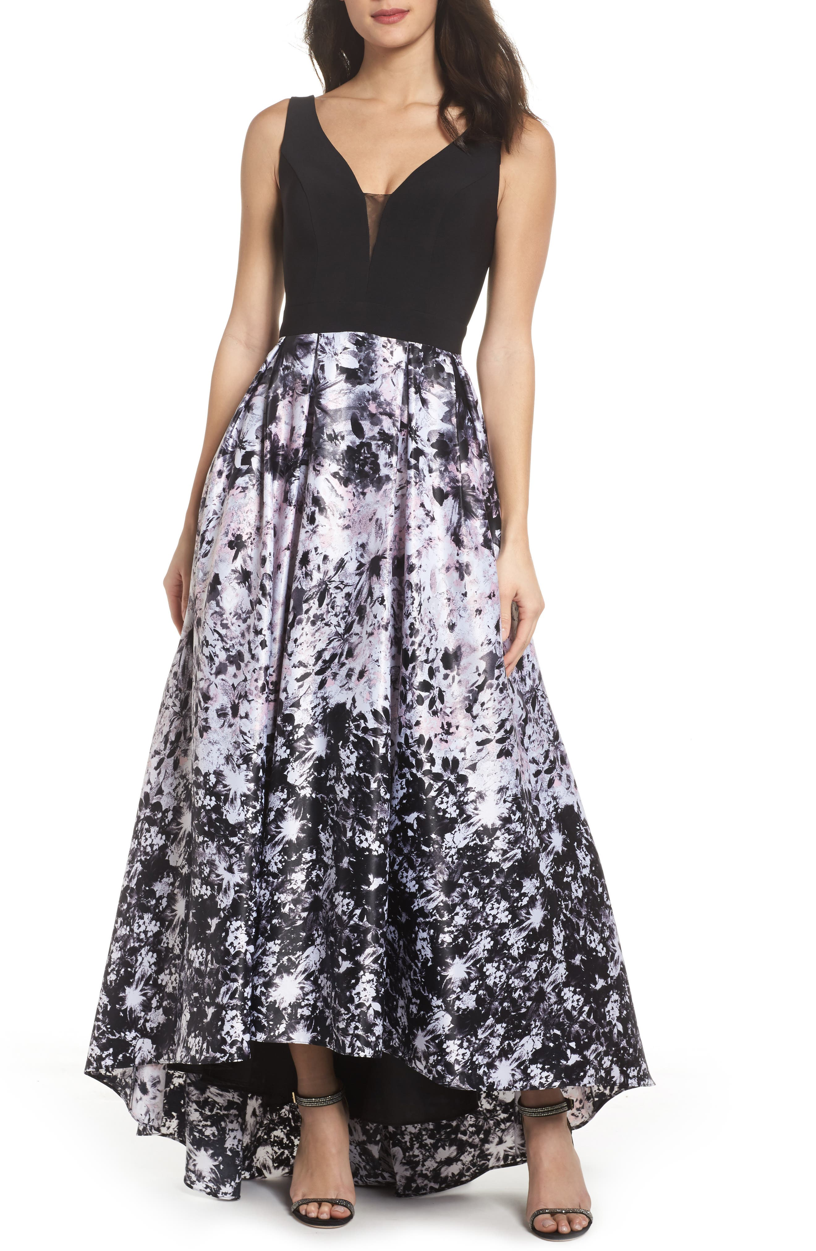 Print Skirt High/Low Gown,                             Main thumbnail 1, color,                             Black/ Pink