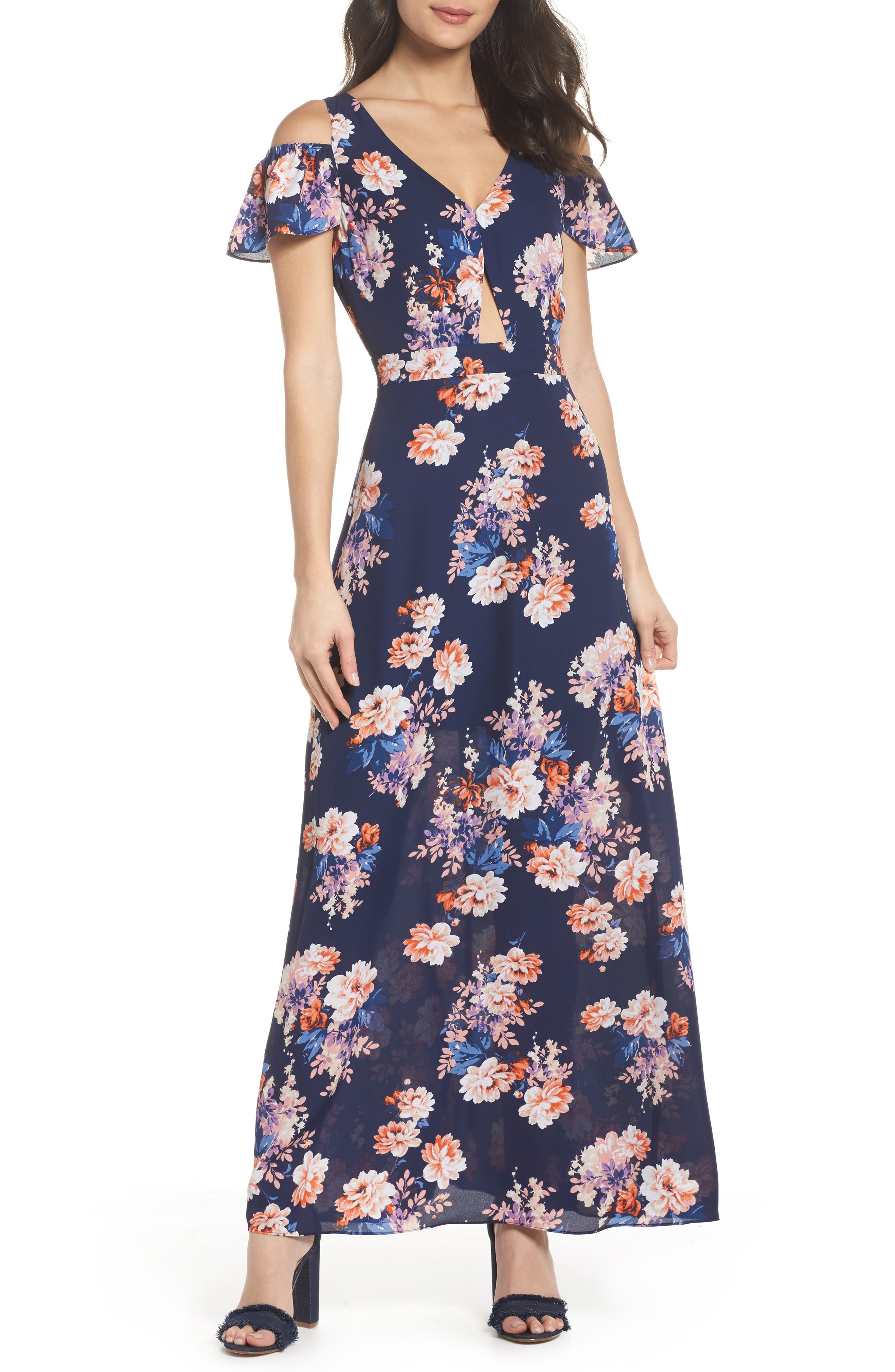 Chasing Butterflies Maxi Dress,                         Main,                         color, Navy Floral
