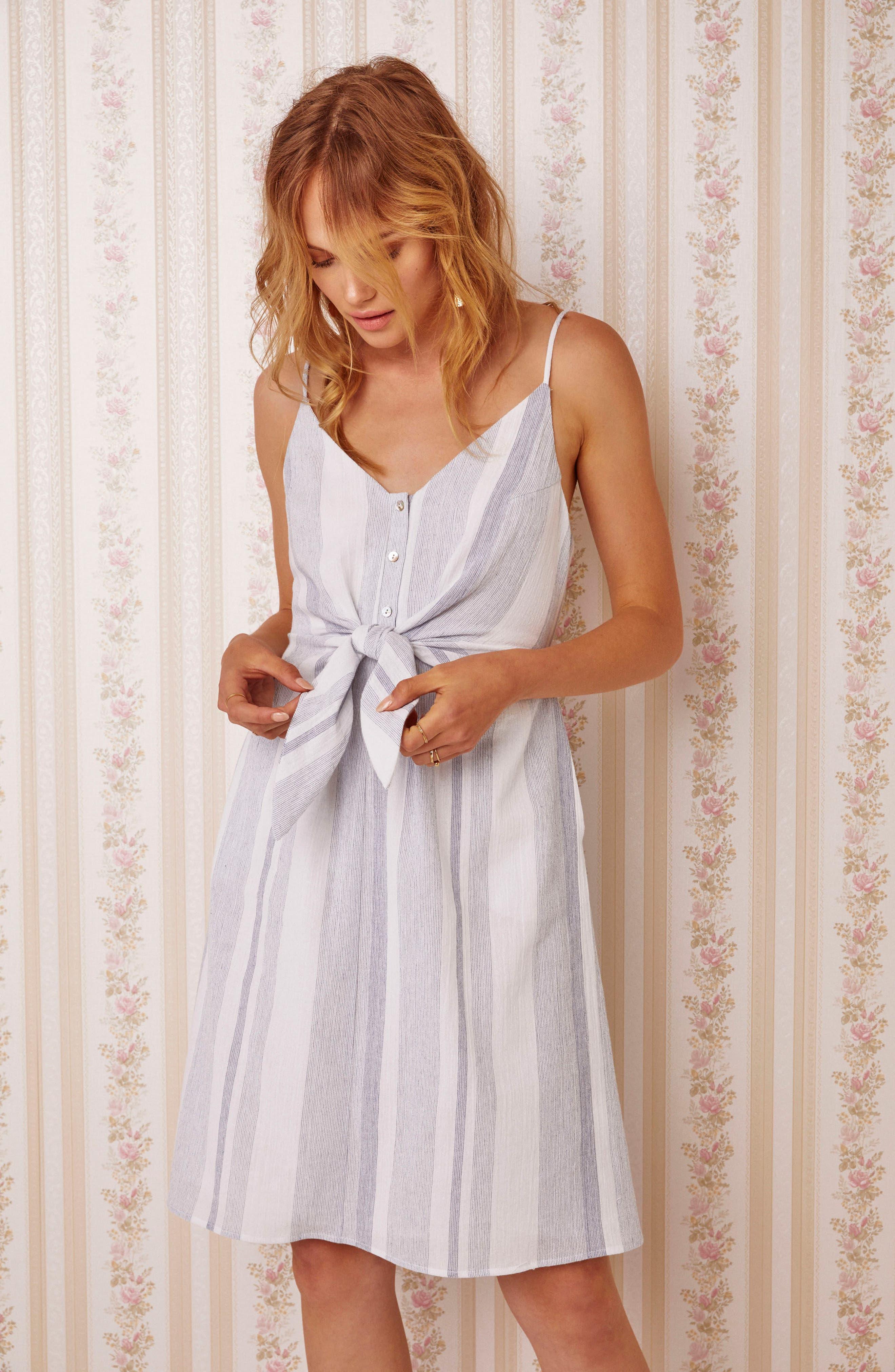 Parker Dress,                             Alternate thumbnail 4, color,                             Sky Blue Stripe