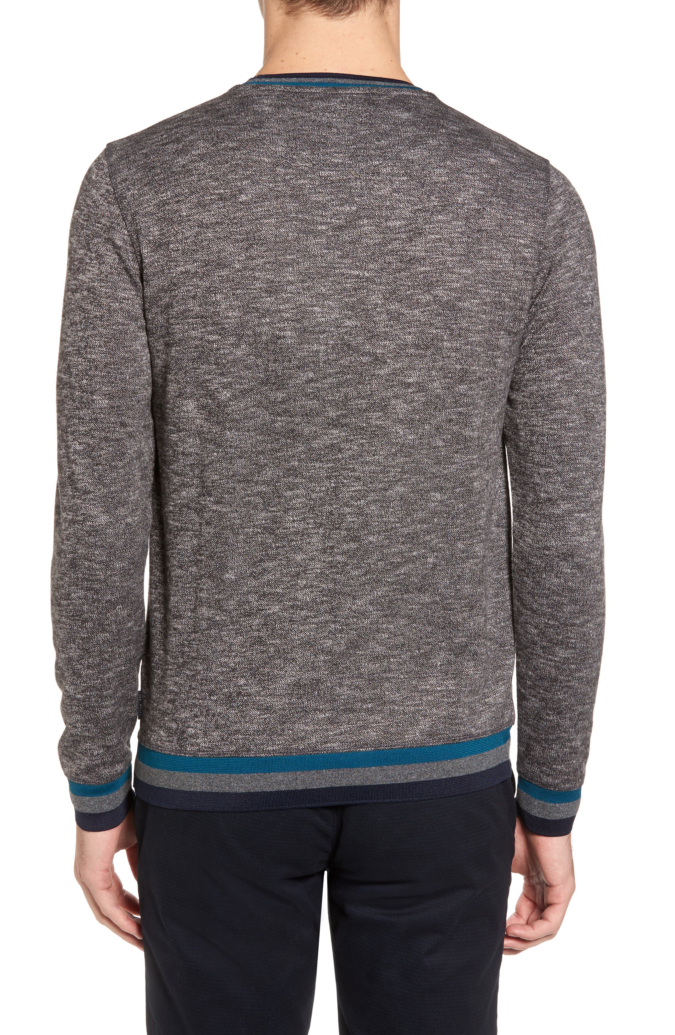 Slater Trim Fit Slub Sweatshirt,                             Alternate thumbnail 2, color,                             Black