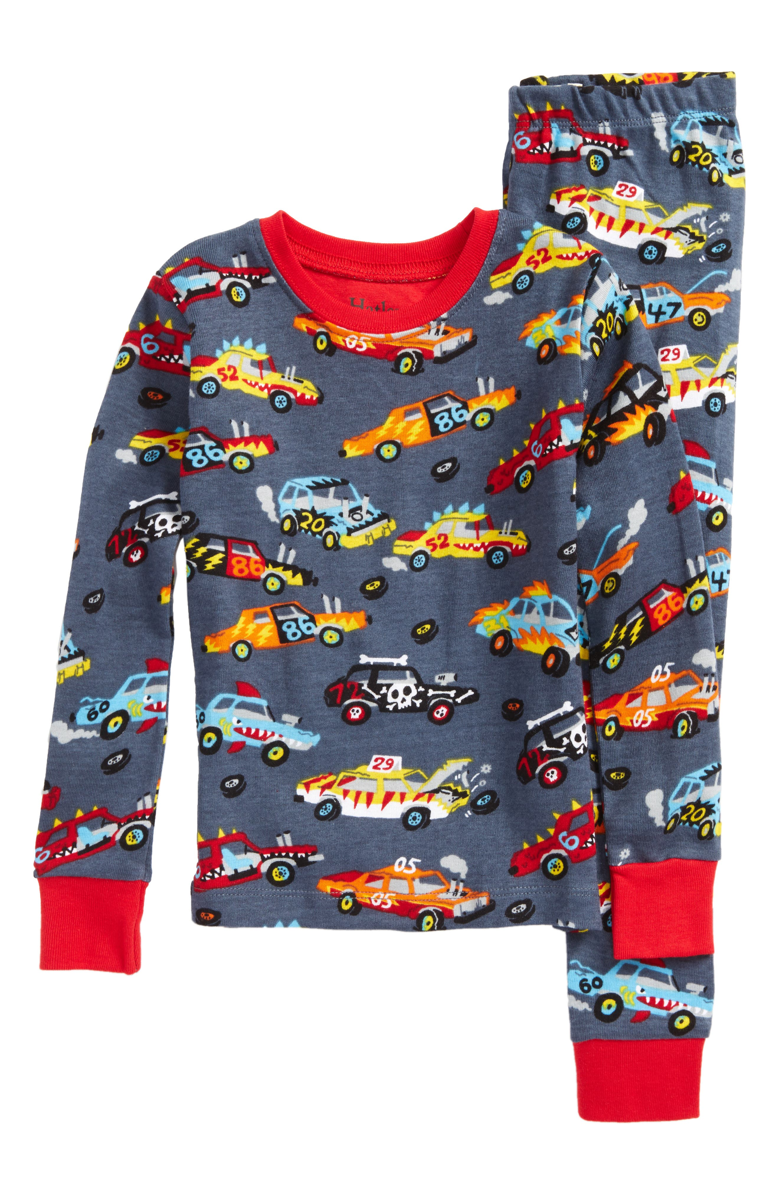 Organic Cotton Fitted Two-Piece Pajamas,                         Main,                         color, Monster Cars