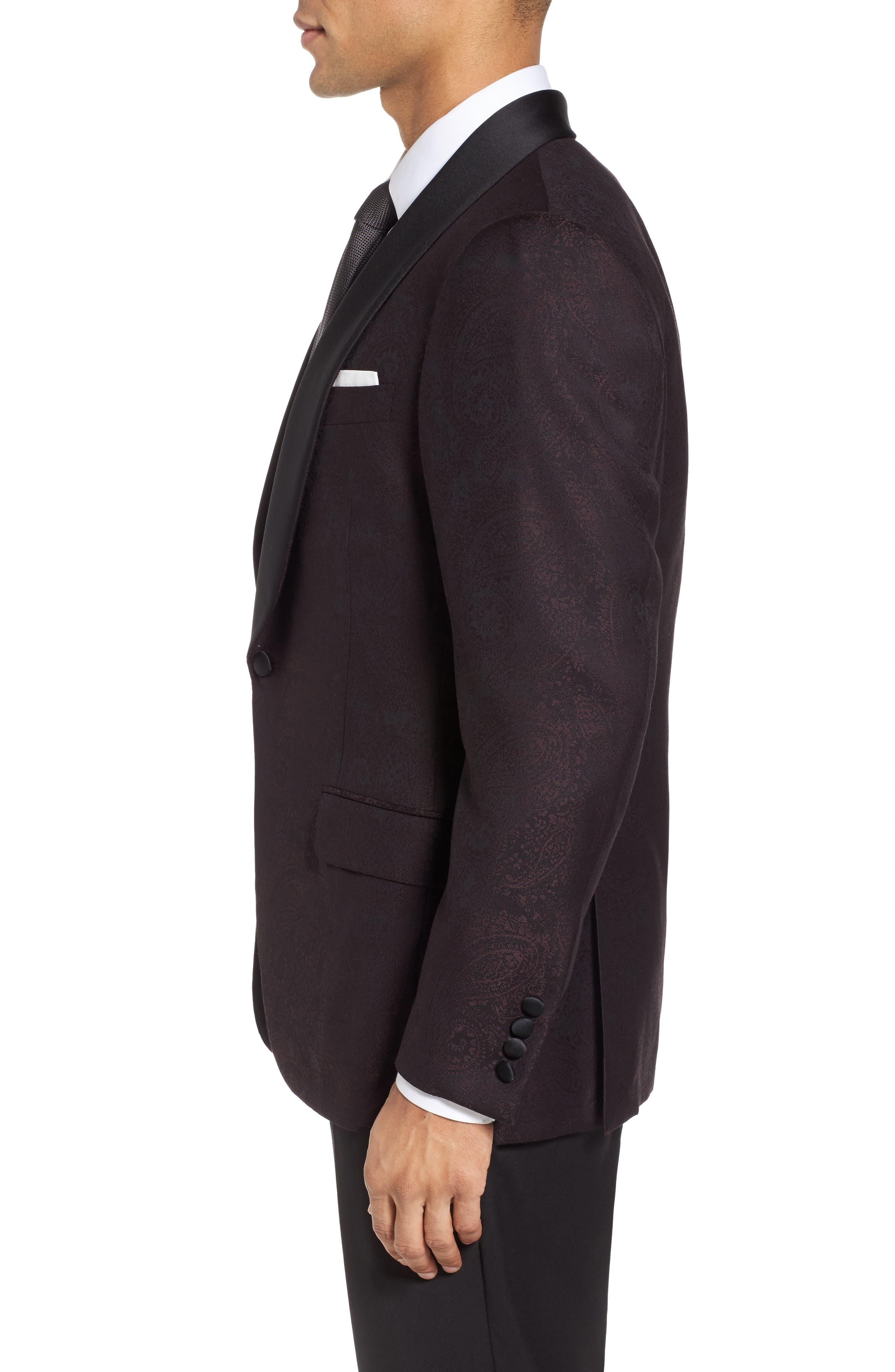 Classic Fit Paisley Wool Dinner Jacket,                             Alternate thumbnail 3, color,                             Dark Purple