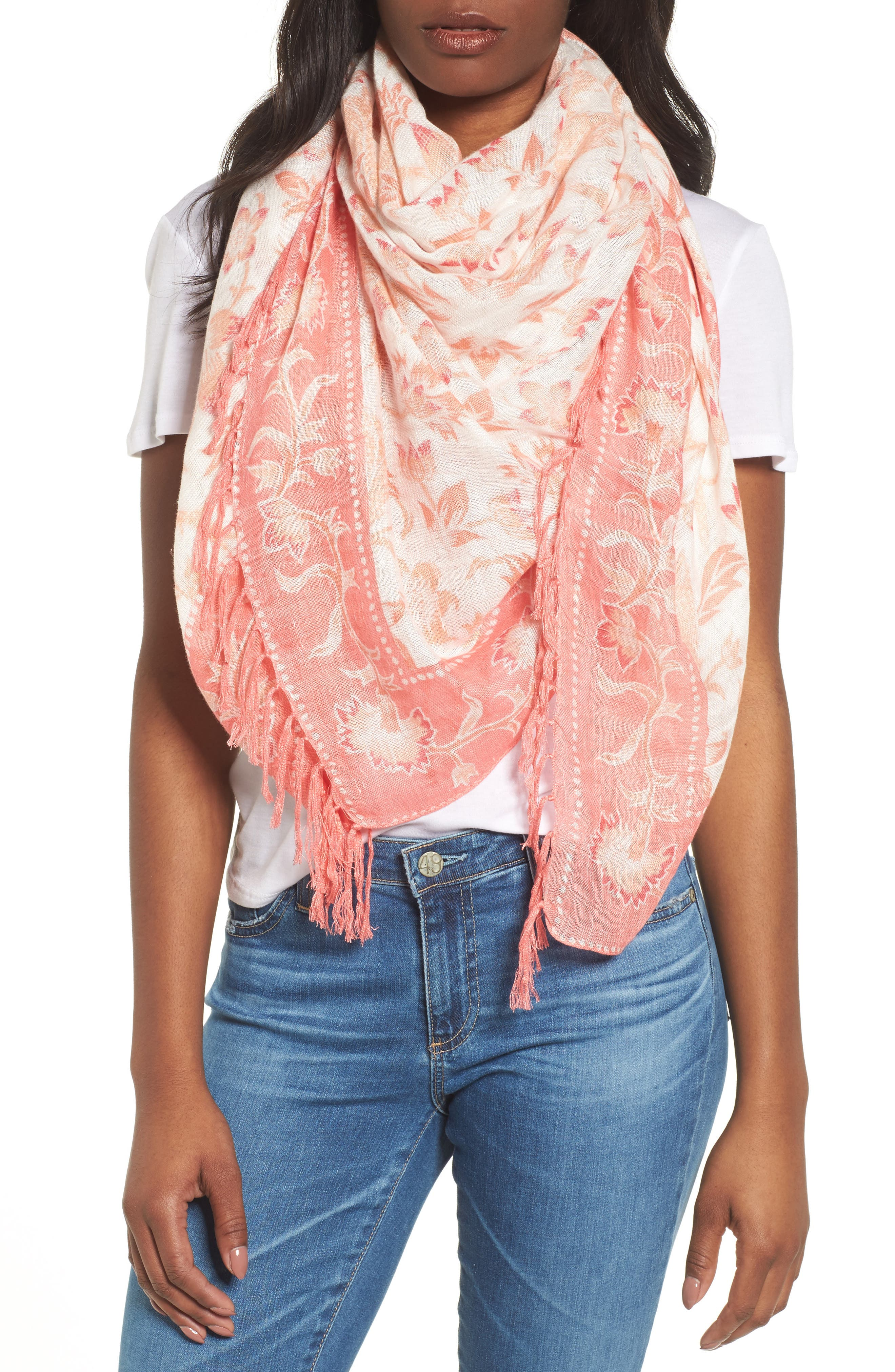 Mixed Print Scarf,                         Main,                         color, Coral Floral Breeze