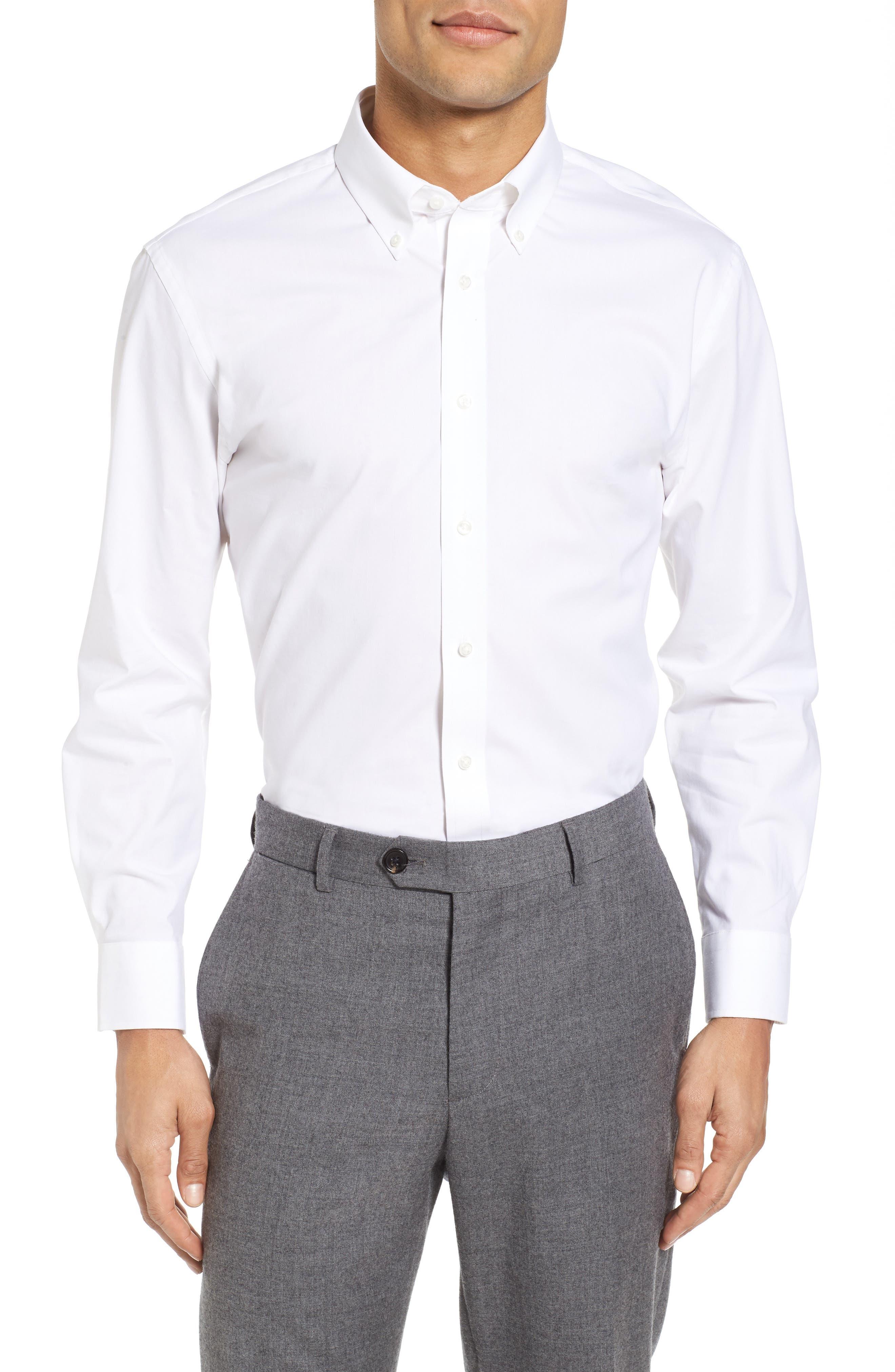 Tech-Smart Trim Fit Stretch Solid Dress Shirt,                         Main,                         color, White