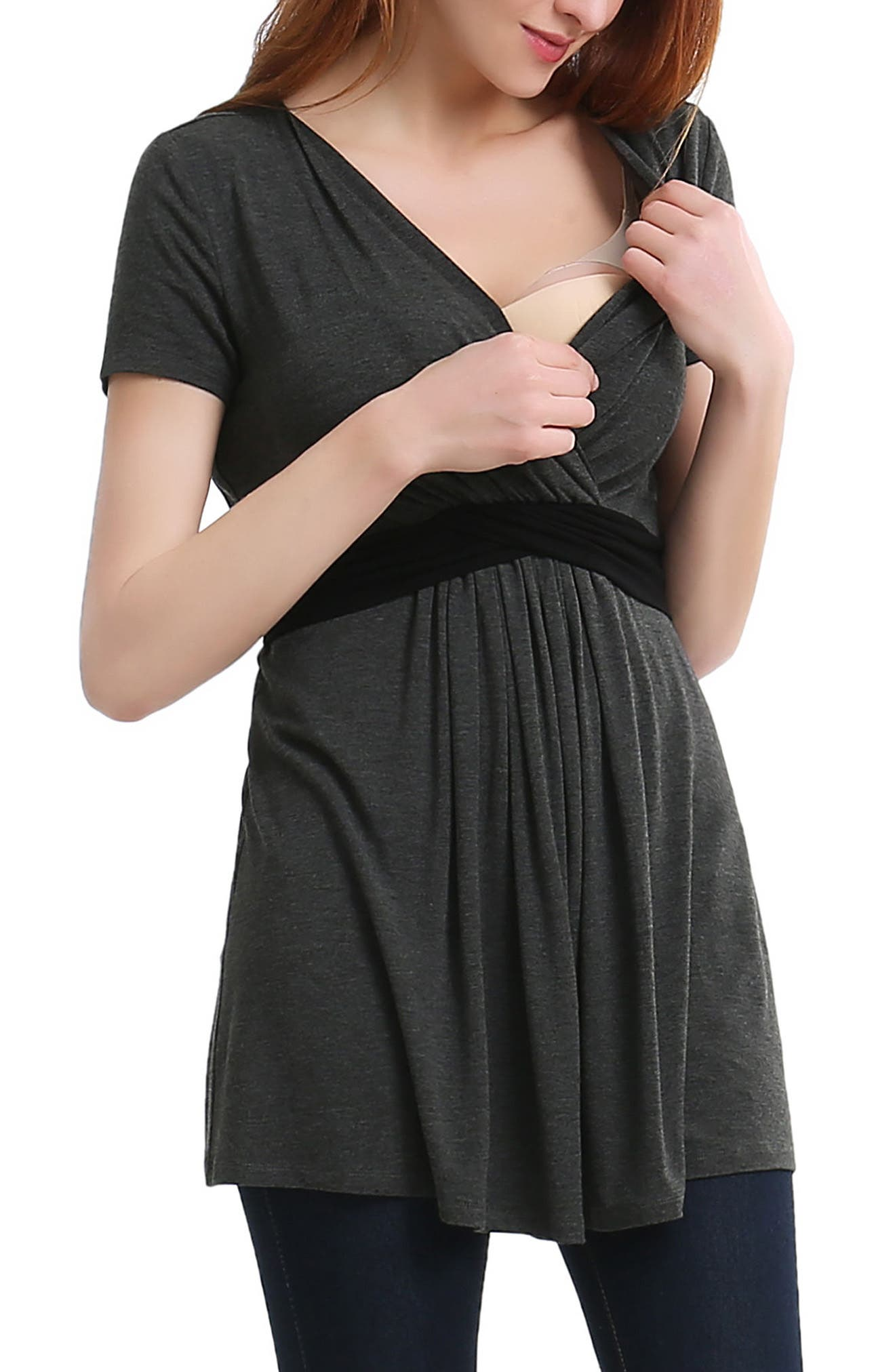 Alternate Image 4  - Kimi and Kai Jasmine Belted Maternity/Nursing Surplice Top