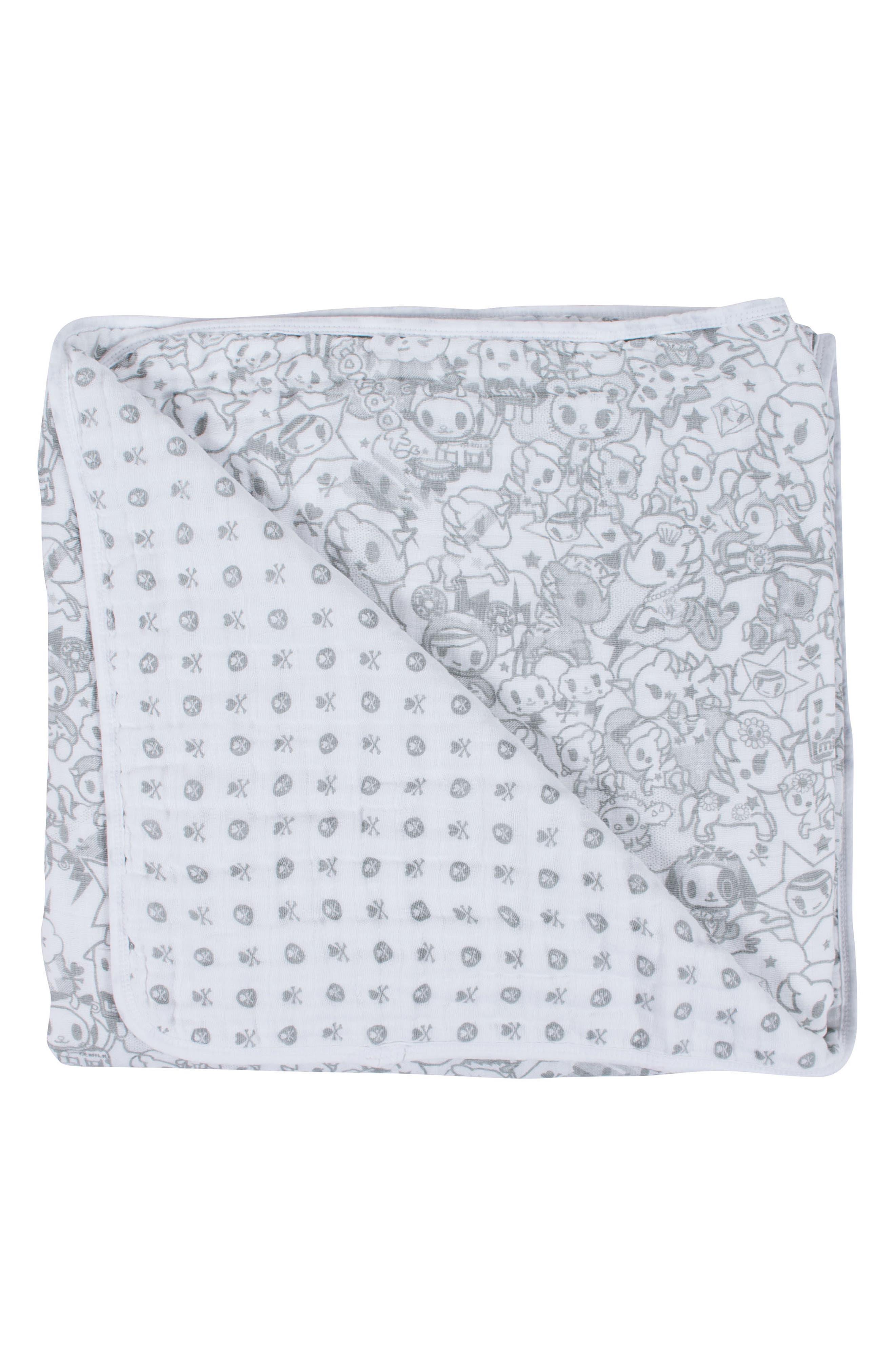 Print Cotton Muslin Blanket,                         Main,                         color, Unikiki/ Monogram