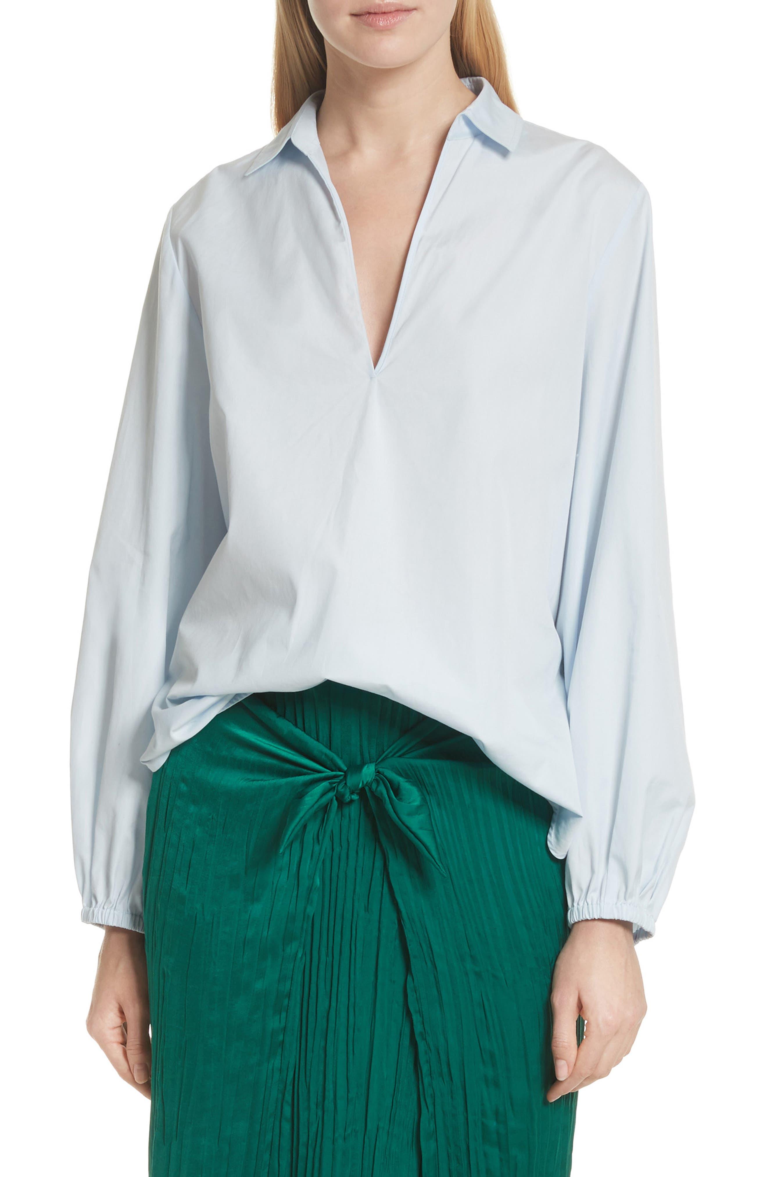 Swing Front Pullover Shirt,                             Main thumbnail 1, color,                             Powder Blue
