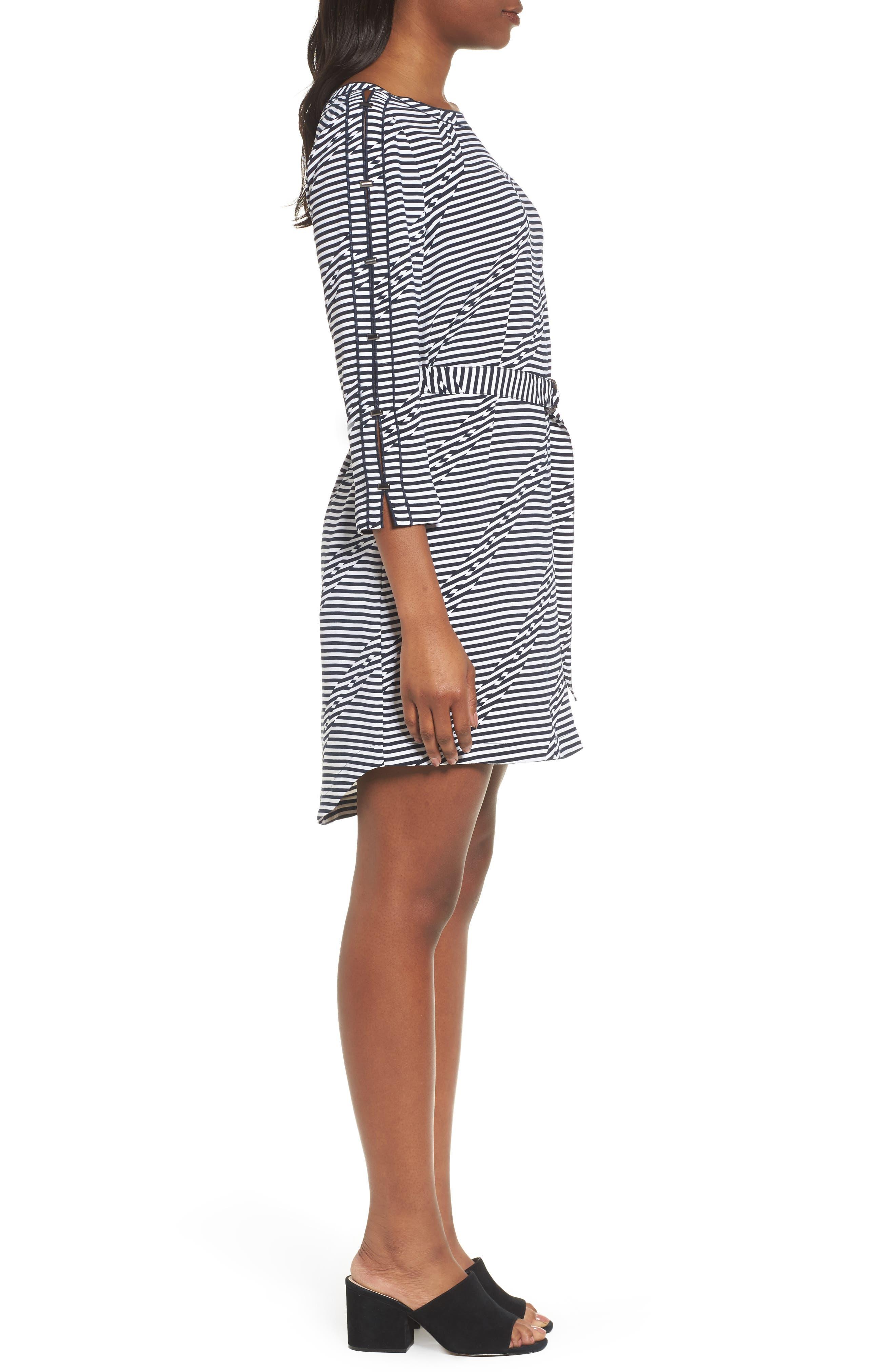 Belted Waist Dress,                             Alternate thumbnail 3, color,                             Offset Stripe Indigo