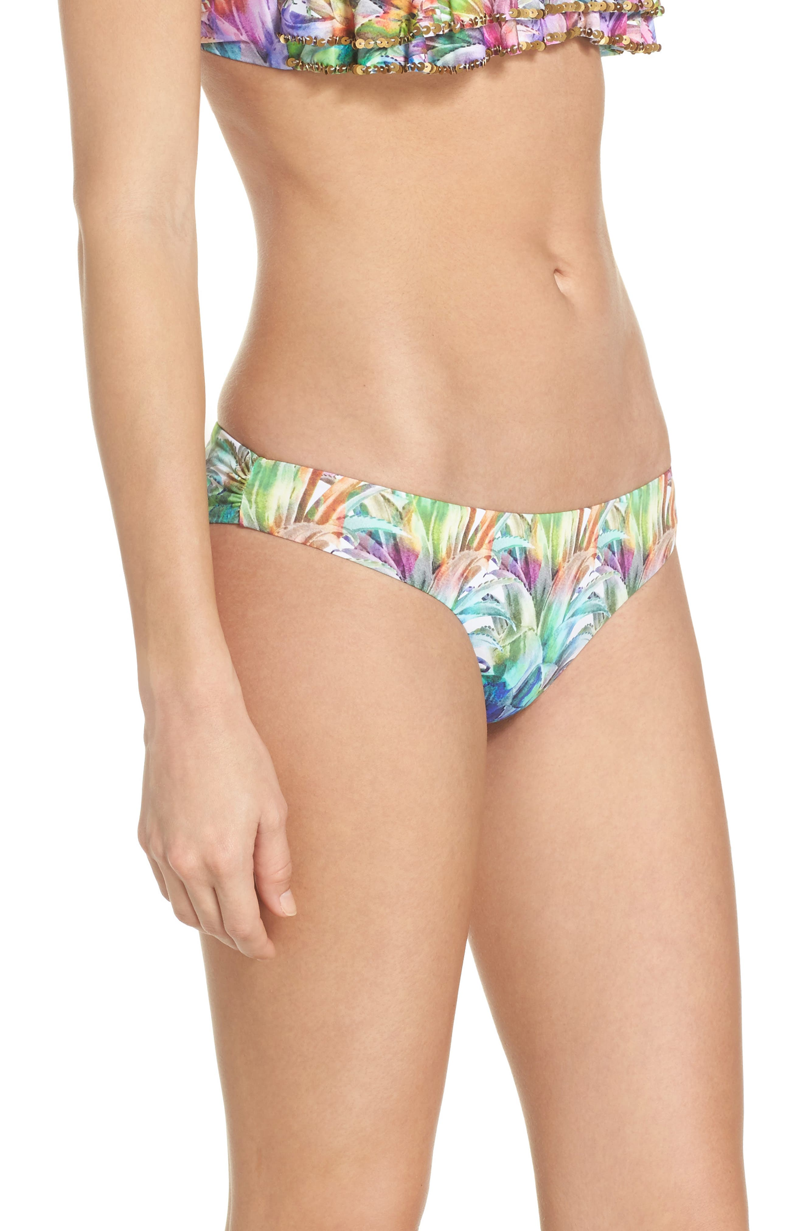 Ruched Teeny Bikini Bottoms,                             Alternate thumbnail 3, color,                             Lanai
