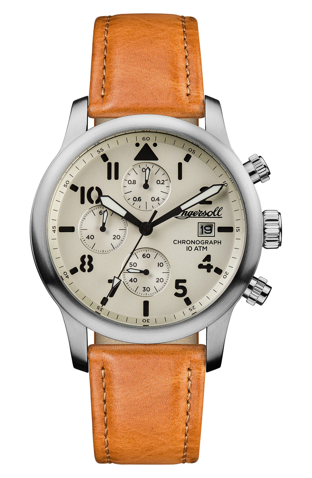 Ingersoll Hatton Chronograph Leather Strap Watch, 46mm,                             Main thumbnail 1, color,                             Tan/ Cream/ Silver