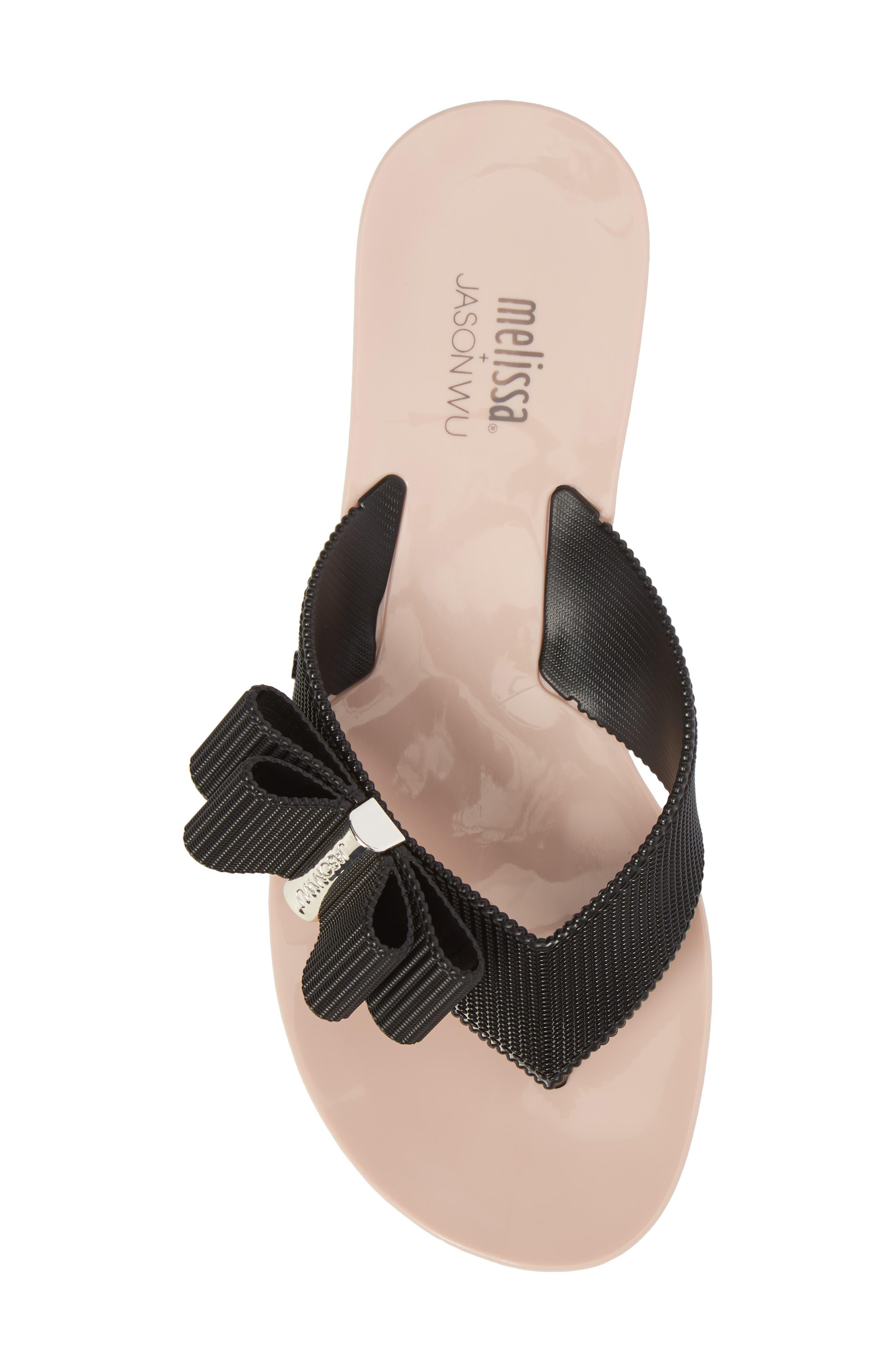+ Jason Wu Girl Bow Flip Flop,                             Alternate thumbnail 5, color,                             Black Pink