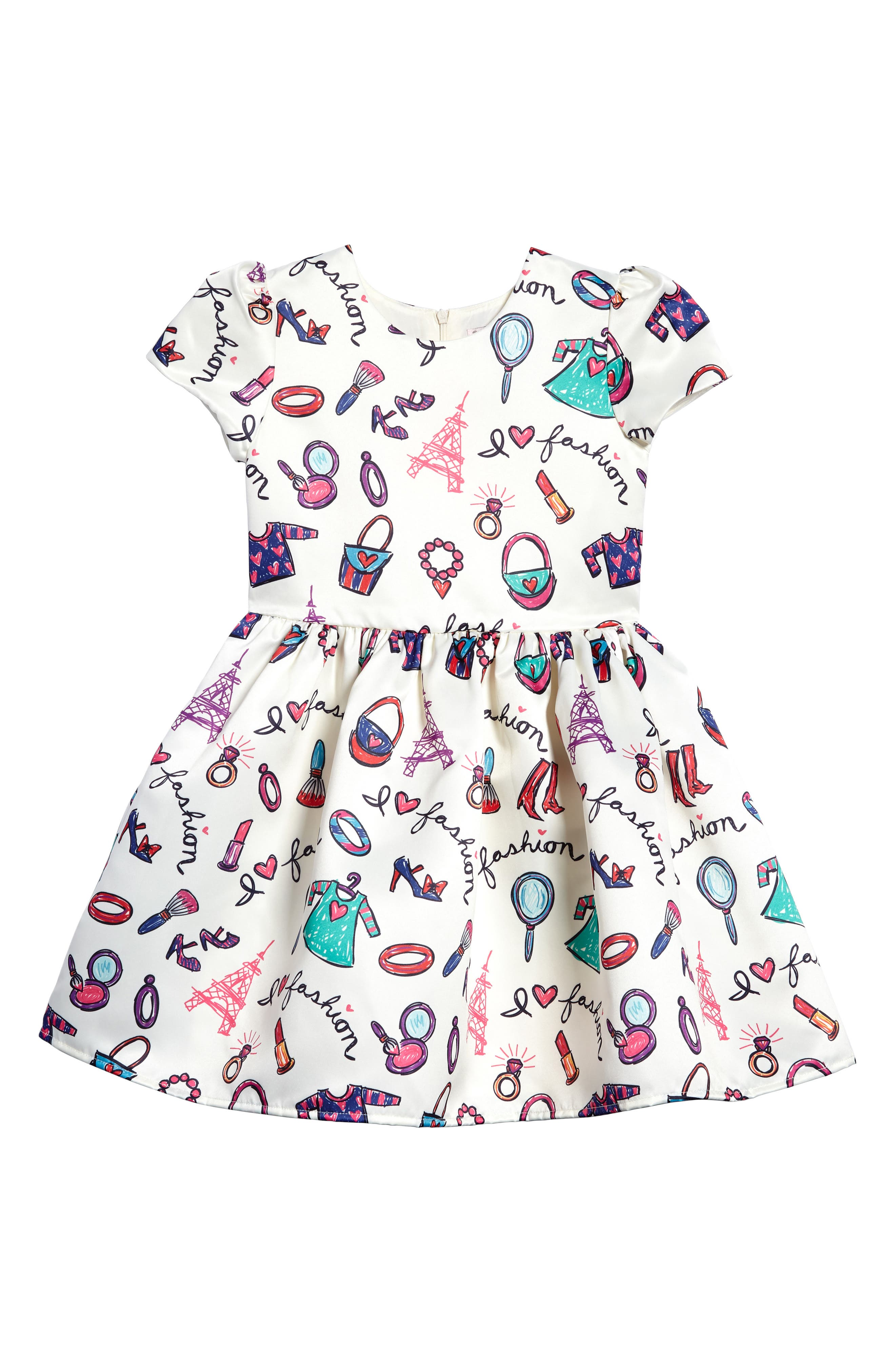 Fashion Print Fit & Flare Dress,                             Main thumbnail 1, color,                             White Multi