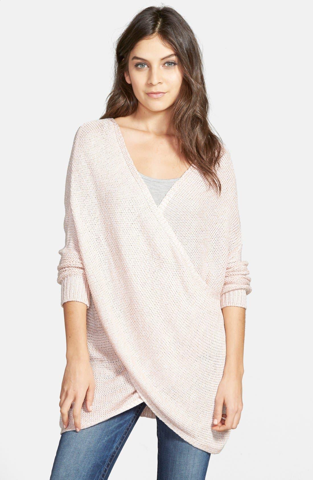 Wrap Front Sweater,                         Main,                         color, Pure Blush Twist