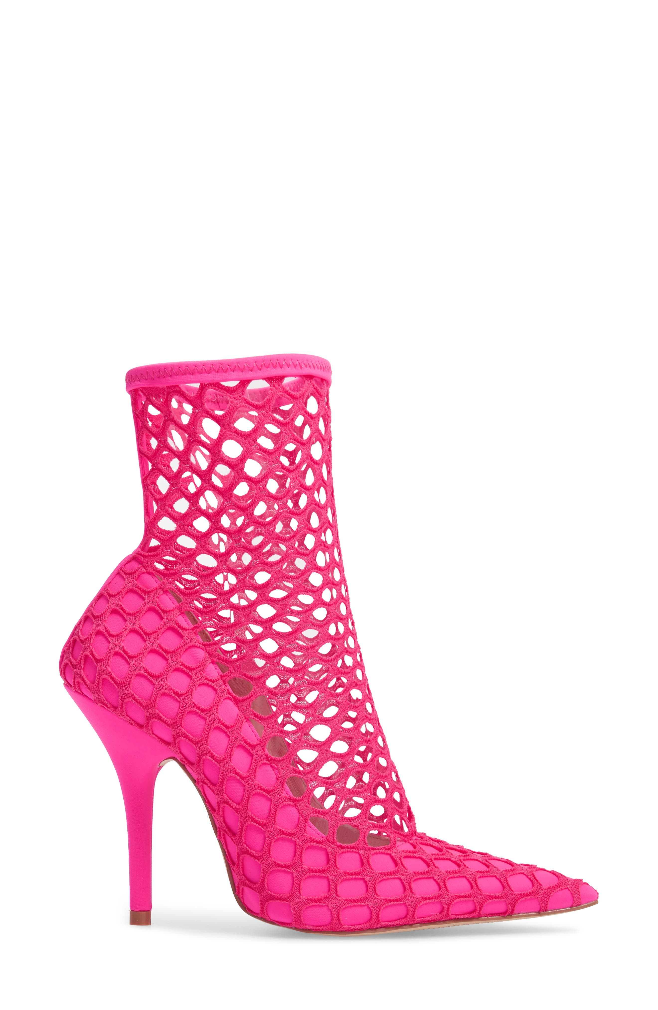 Heidi Mesh Sock Bootie,                             Alternate thumbnail 3, color,                             Neon Pink Fabric