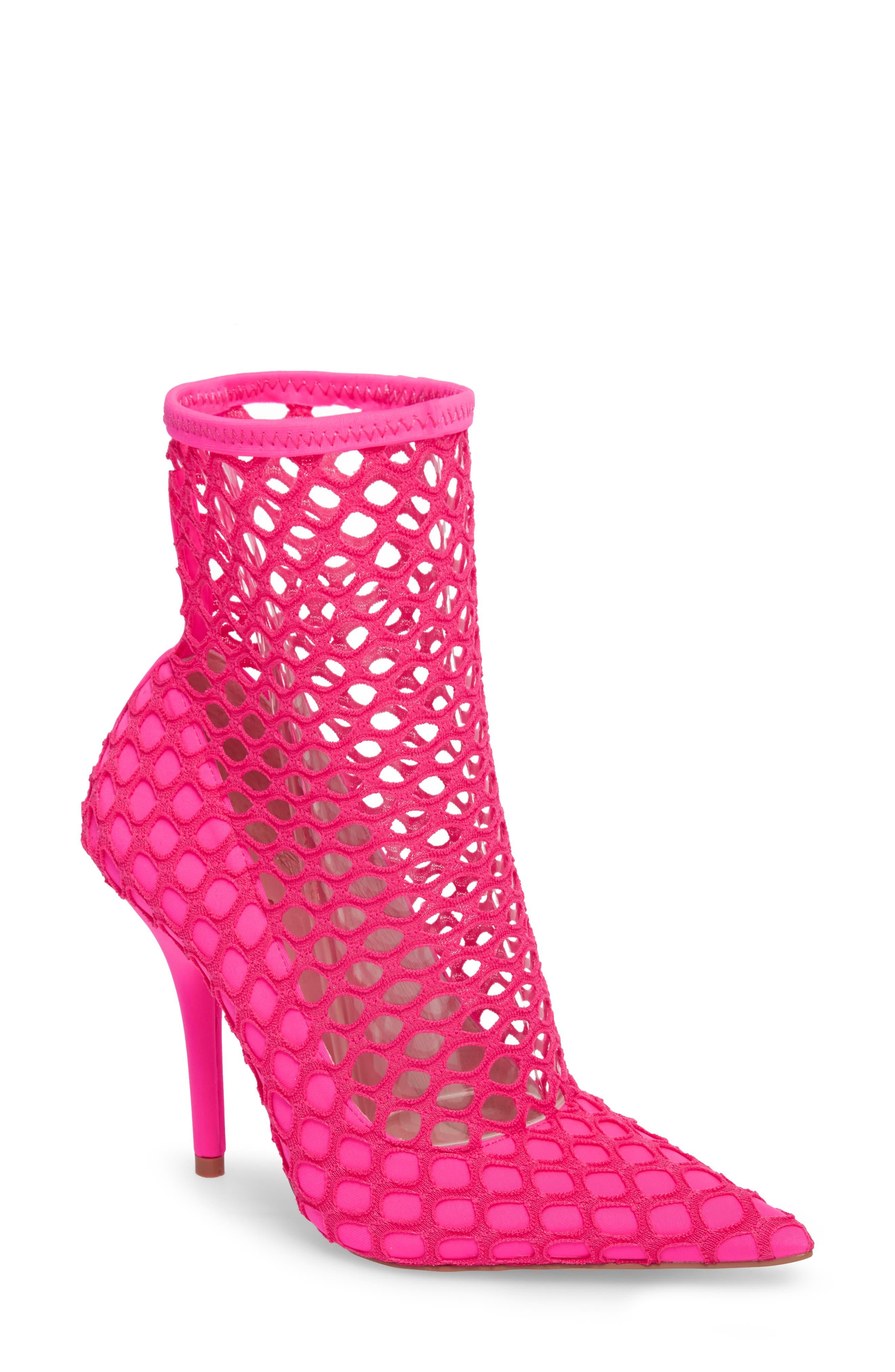 Heidi Mesh Sock Bootie,                             Main thumbnail 1, color,                             Neon Pink Fabric