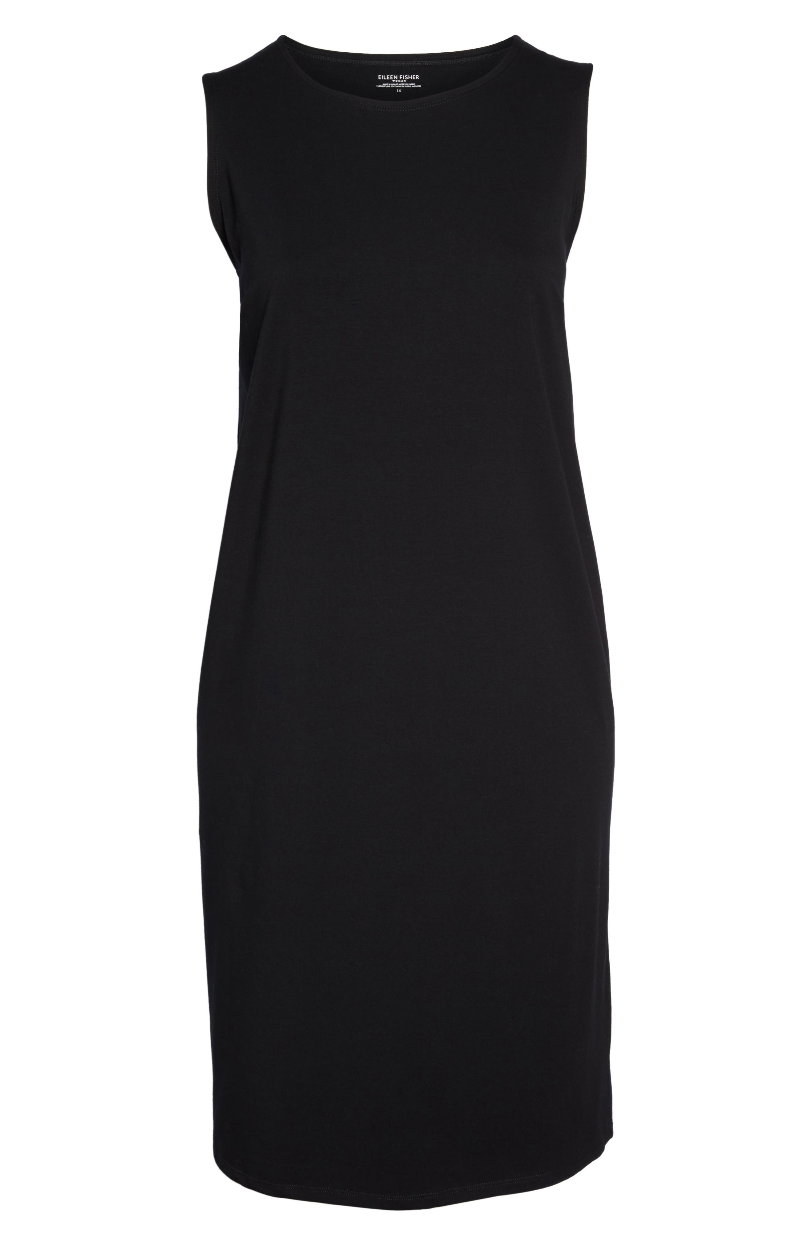 Stretch Organic Cotton Jersey Shift Dress,                             Alternate thumbnail 6, color,                             Black