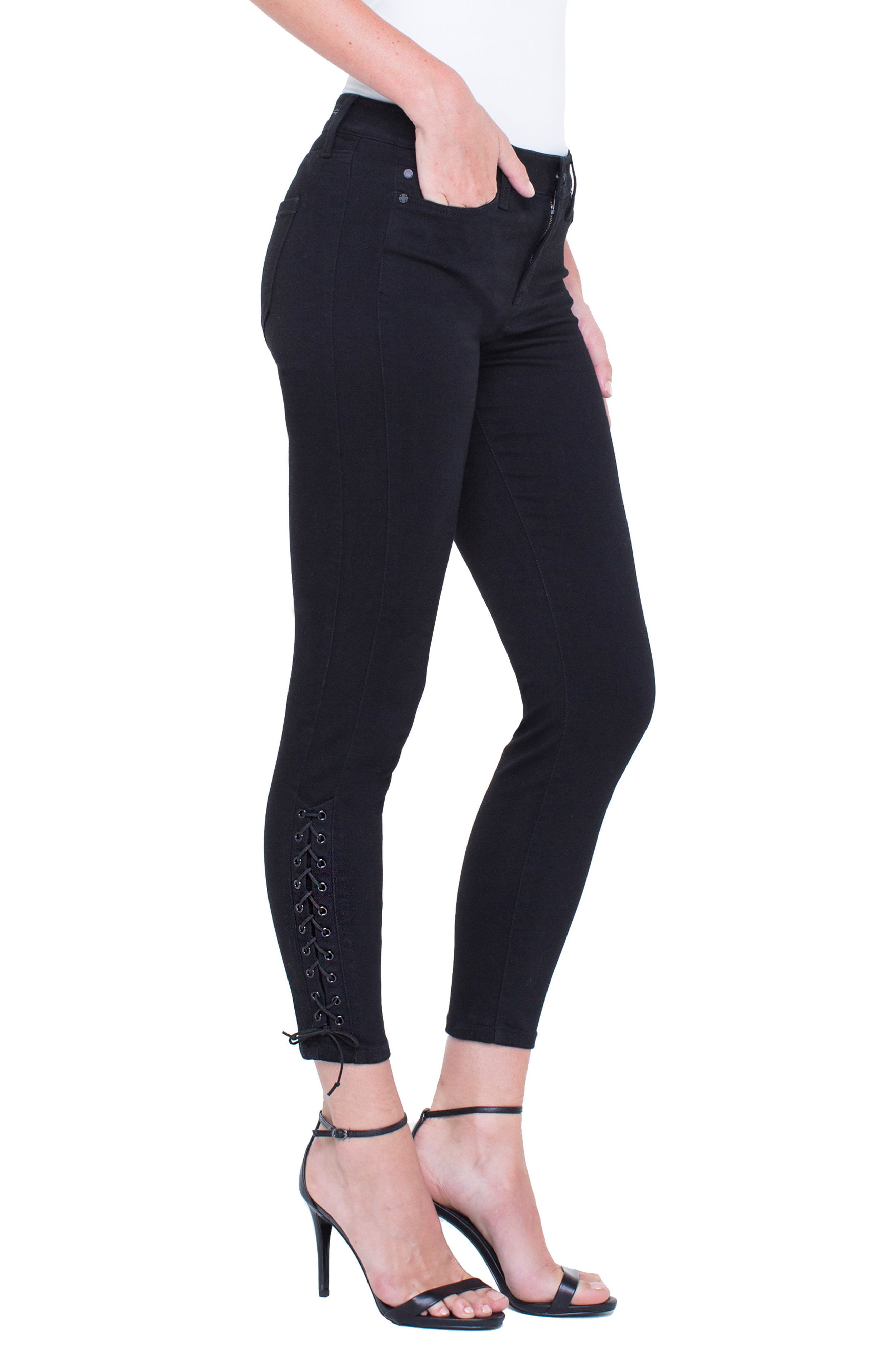 Alyssa Lace-Up Crop Skinny Jeans,                             Alternate thumbnail 4, color,                             Black Rinse