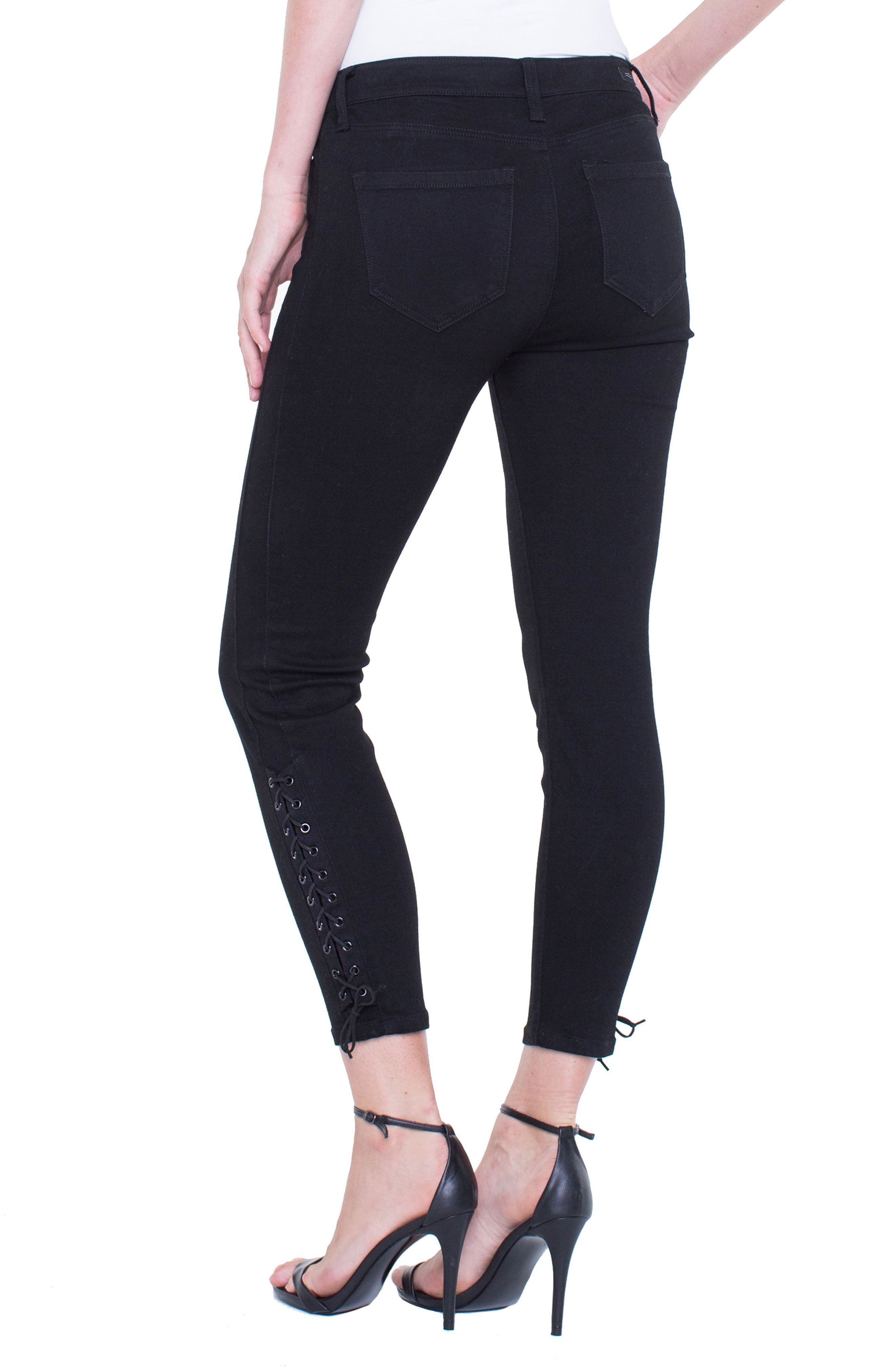 Alyssa Lace-Up Crop Skinny Jeans,                             Alternate thumbnail 3, color,                             Black Rinse