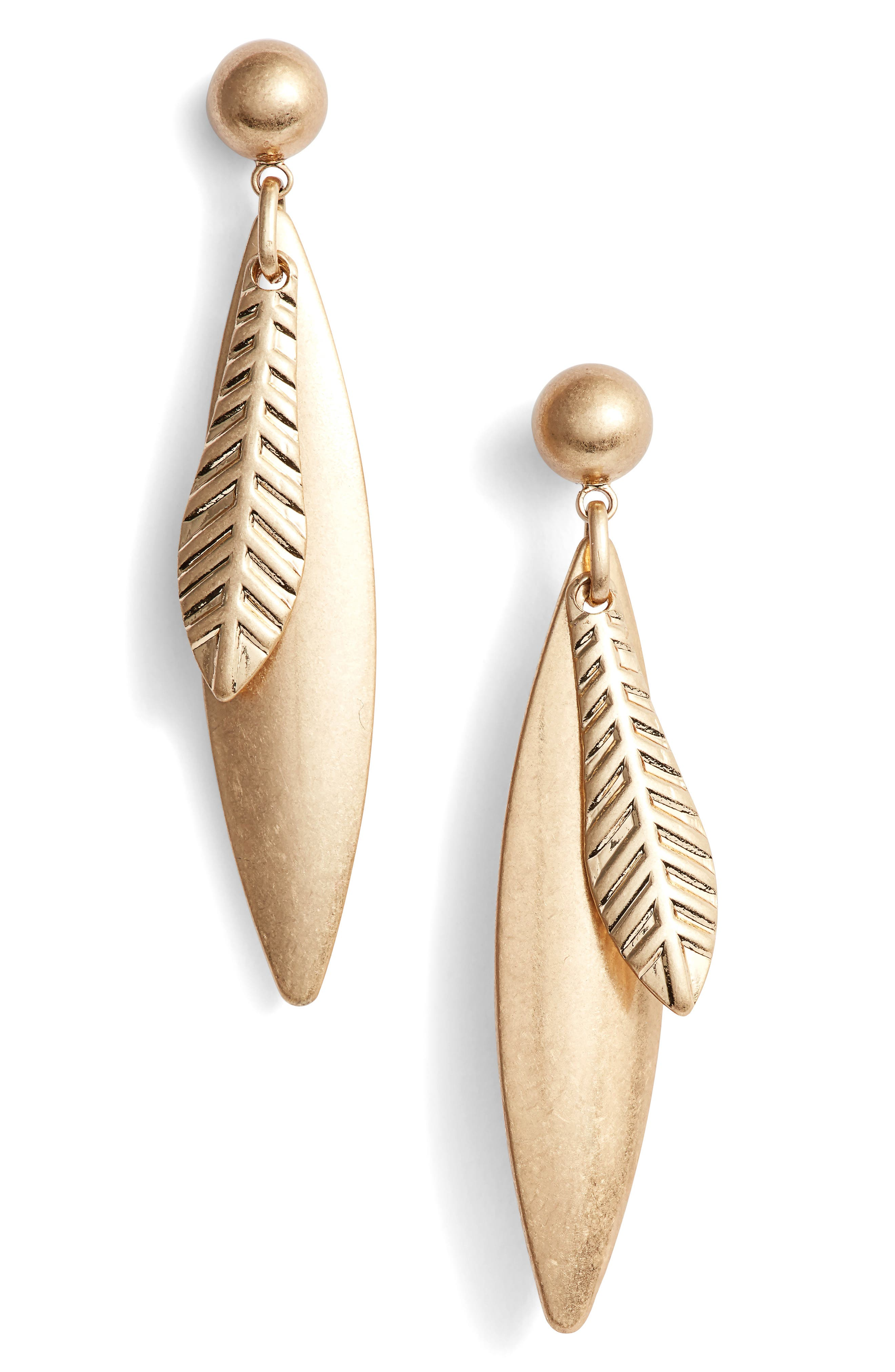 Linear Leaf Earrings,                         Main,                         color, Gold
