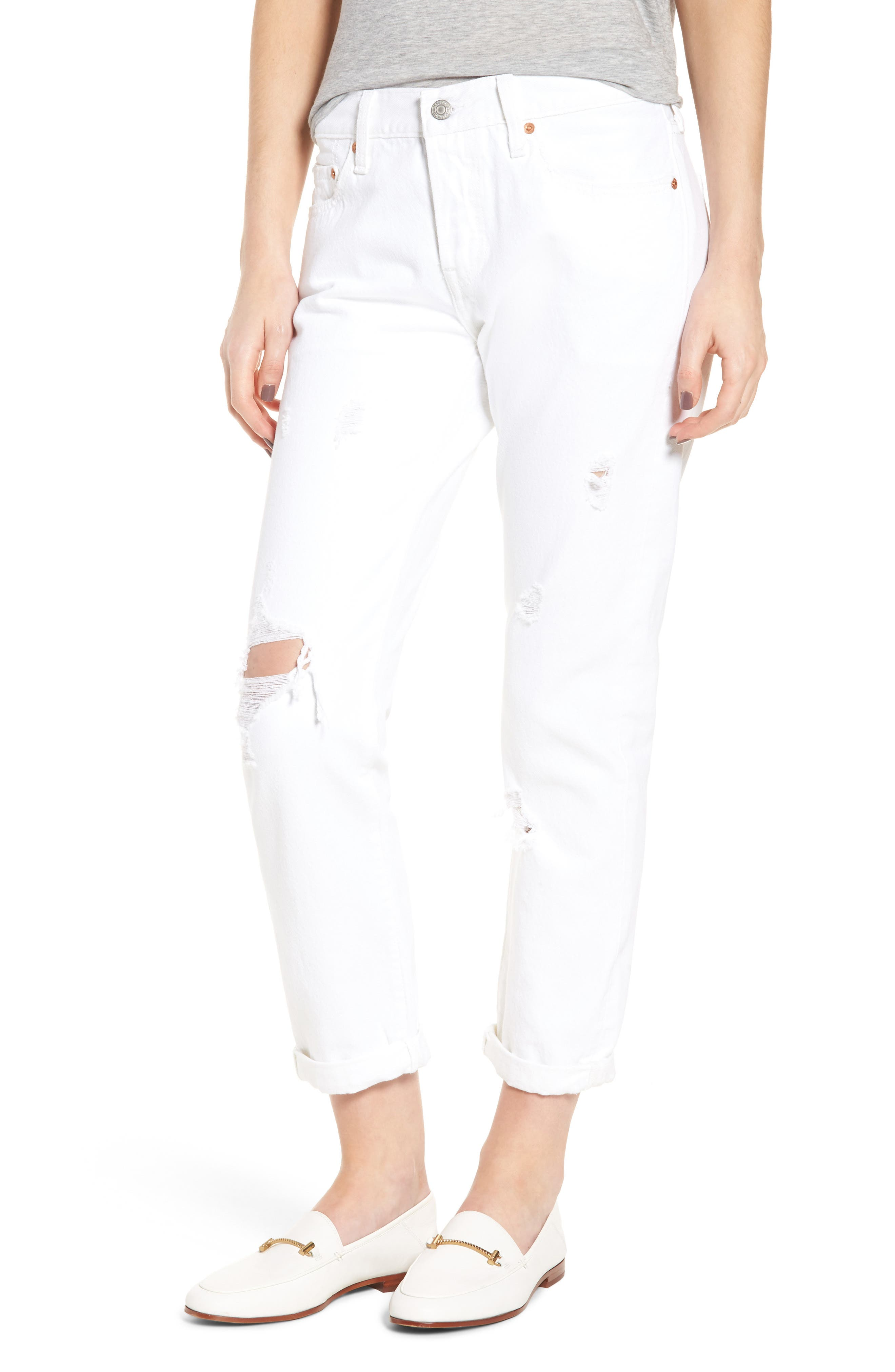 Levi's® 501® Ripped Taper Jeans (White Alright)
