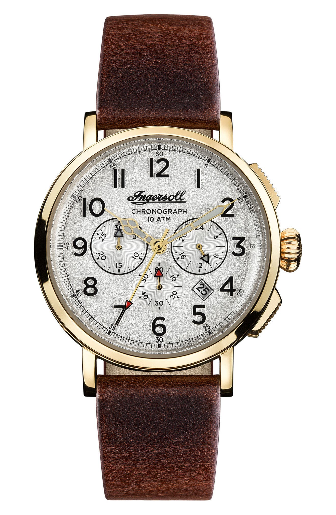 Ingersoll St. John Chronograph Leather Strap Watch, 44mm,                             Main thumbnail 1, color,                             Brown/ White/ Gold