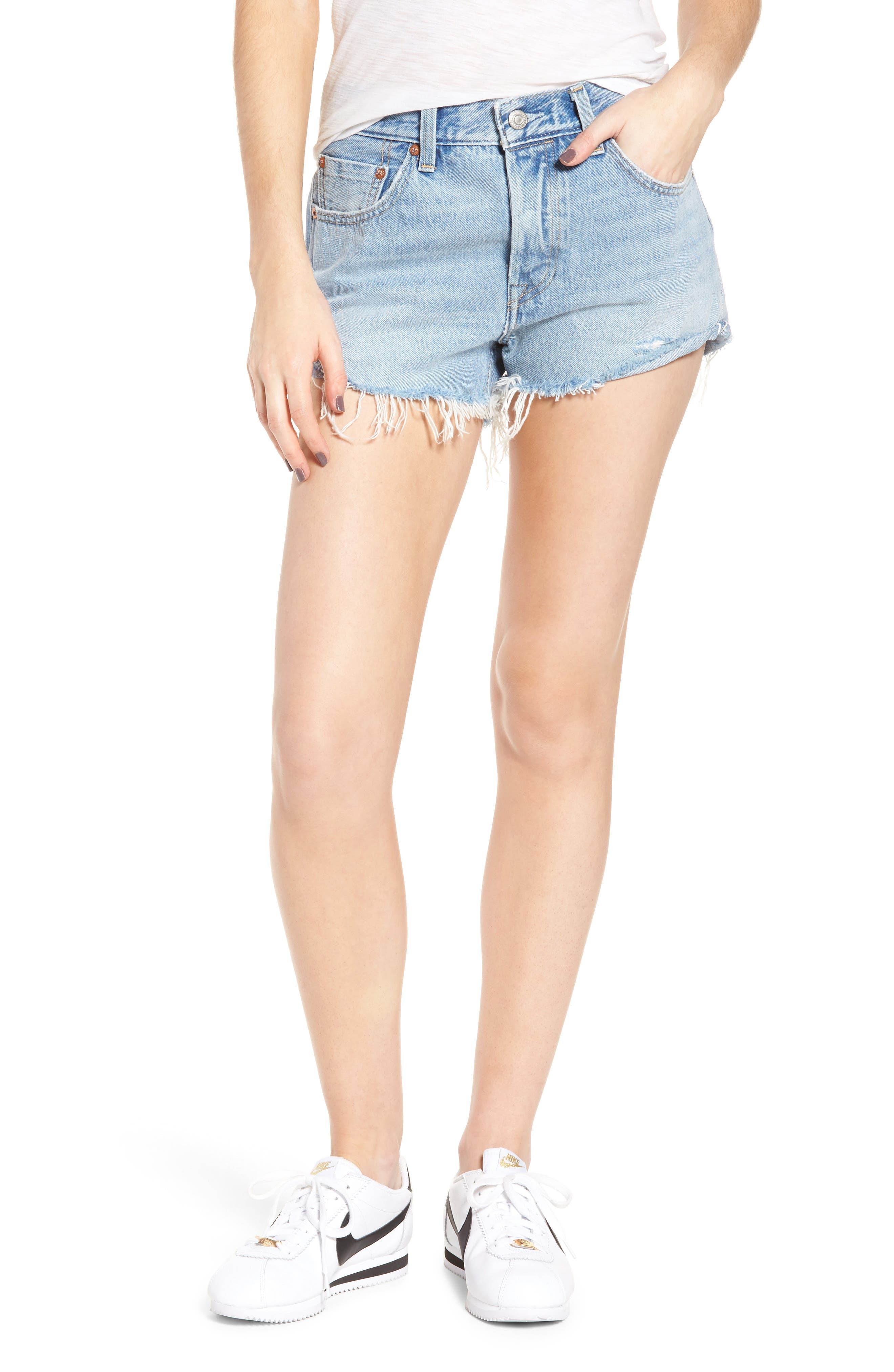 501<sup>®</sup> Cutoff Denim Shorts,                         Main,                         color, Tune Into You