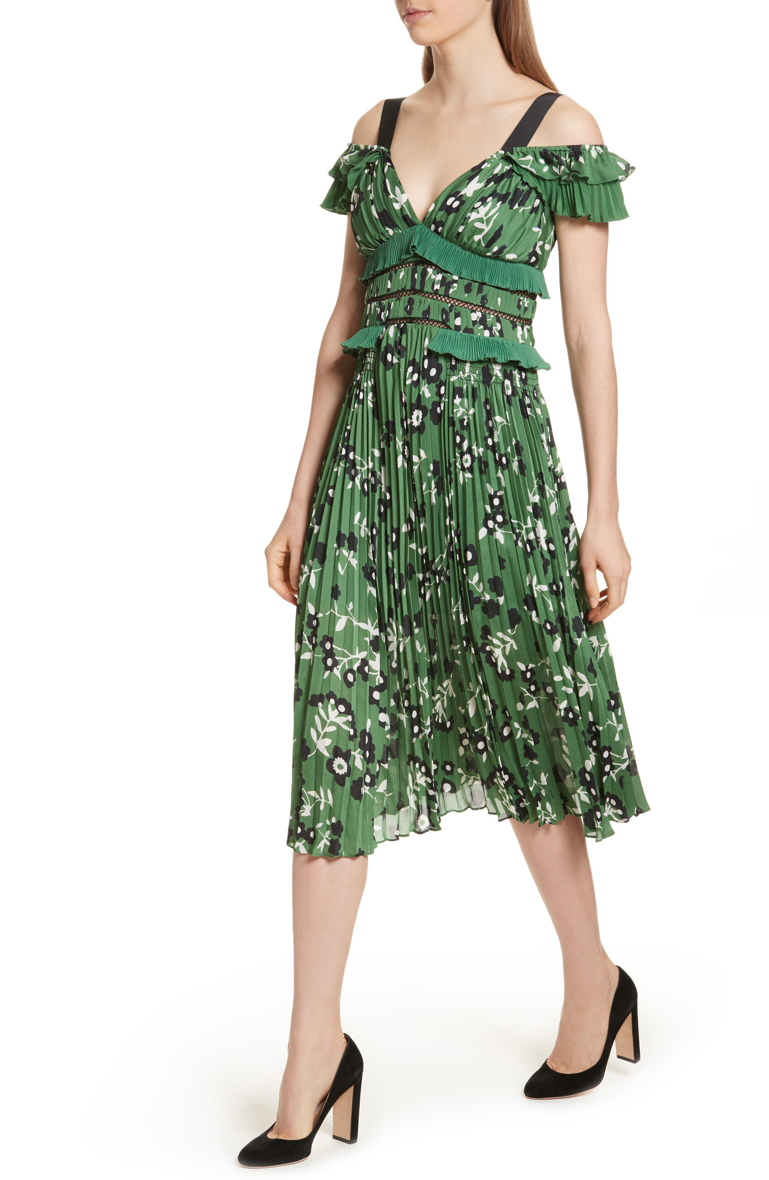Floral Print Cold Shoulder Dress,                             Alternate thumbnail 3, color,                             Green