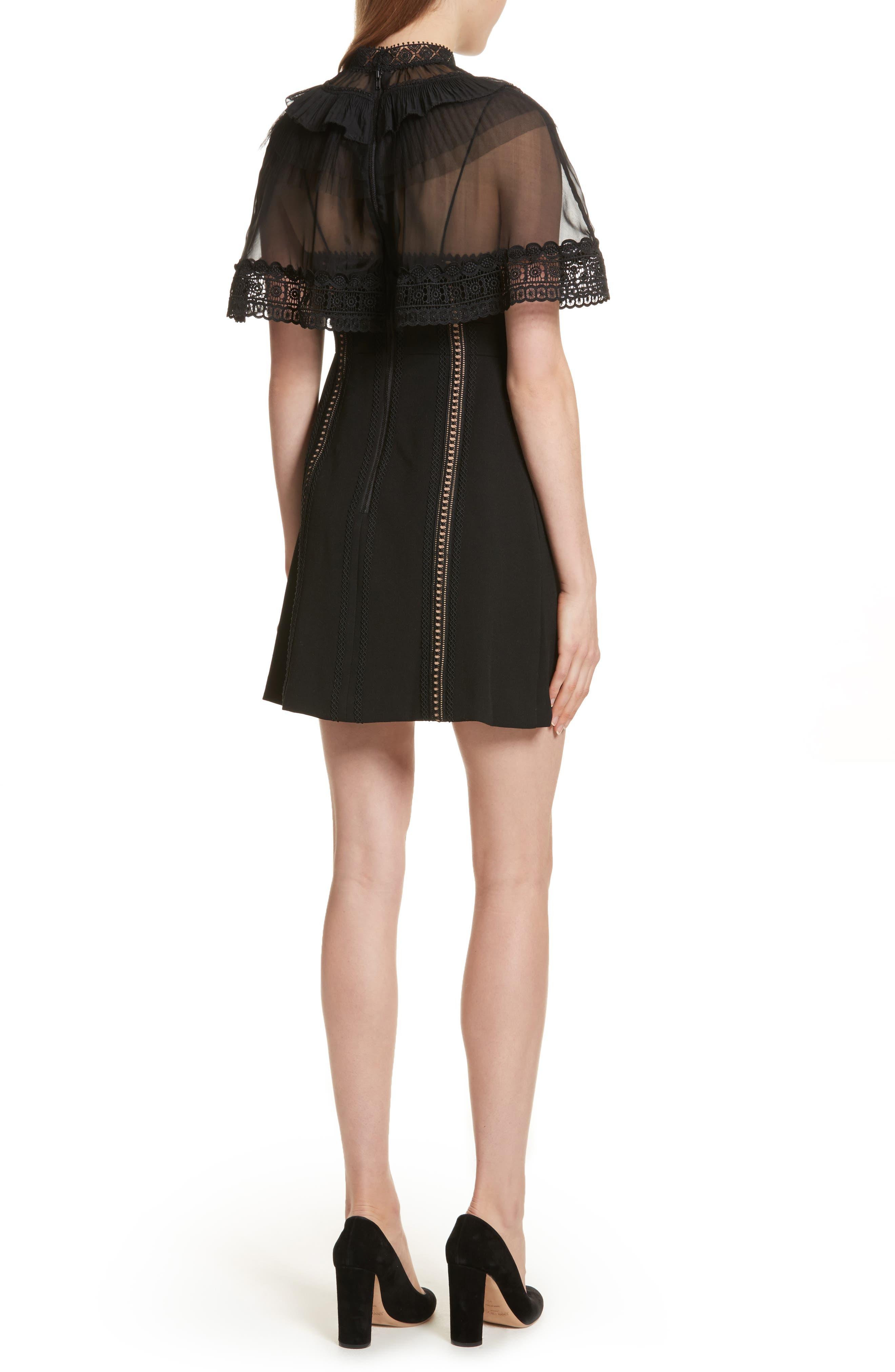 Trimmed Overlay Minidress,                             Alternate thumbnail 2, color,                             Black