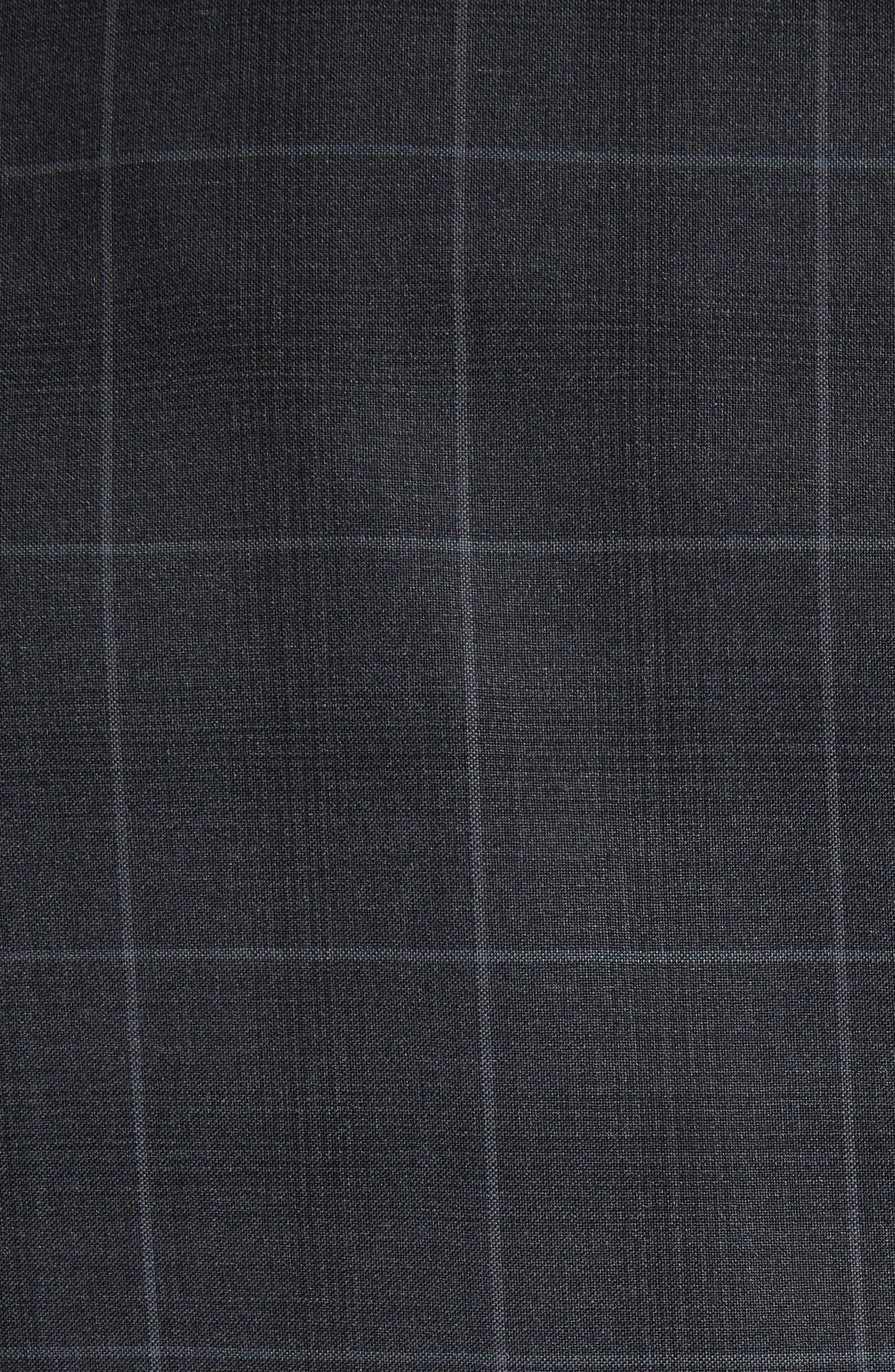 M-Line Trim Fit Plaid Wool Suit,                             Alternate thumbnail 6, color,                             Grey