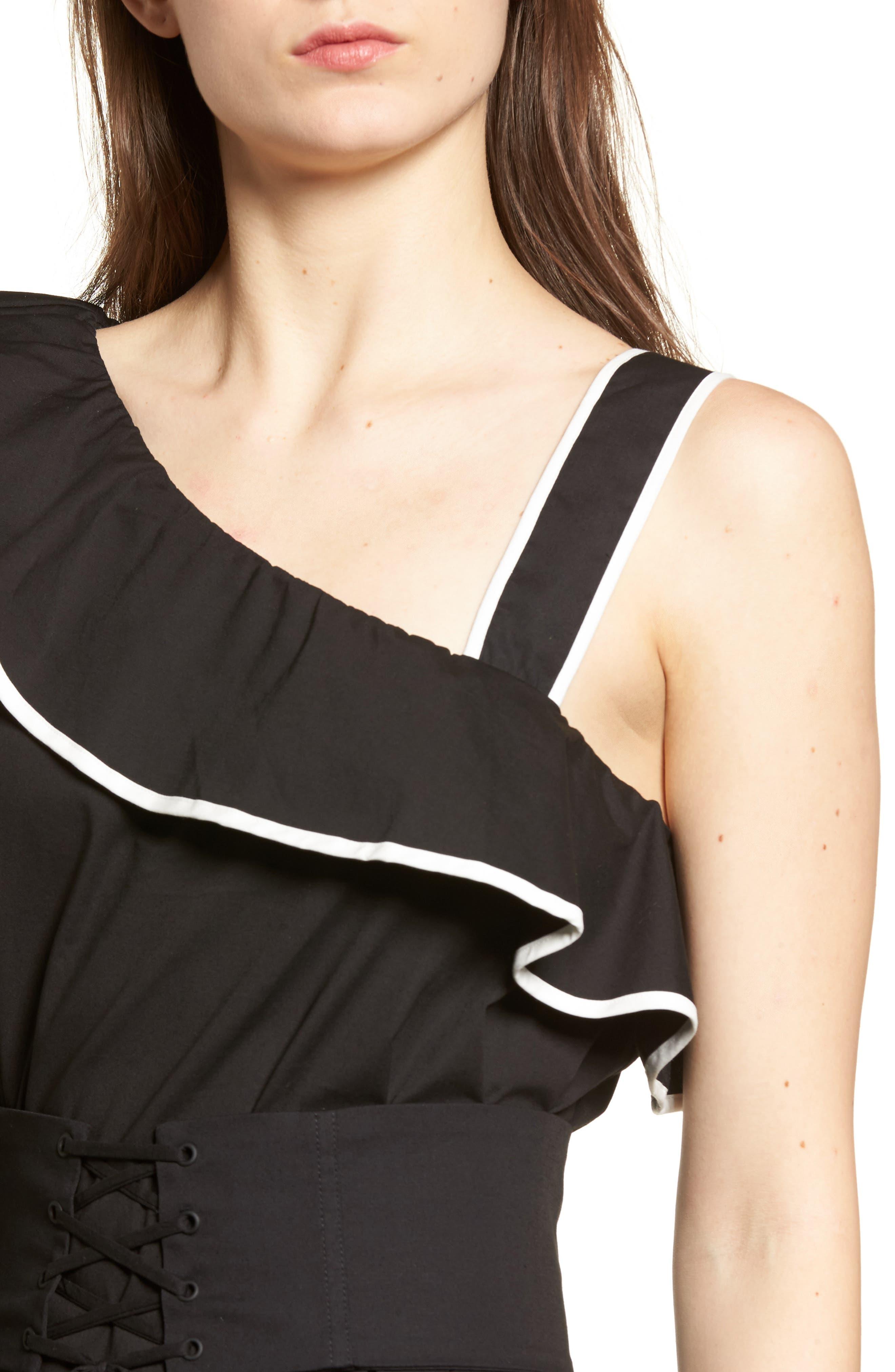 Alternate Image 4  - Lovers + Friends Helen One-Shoulder Ruffle Dress